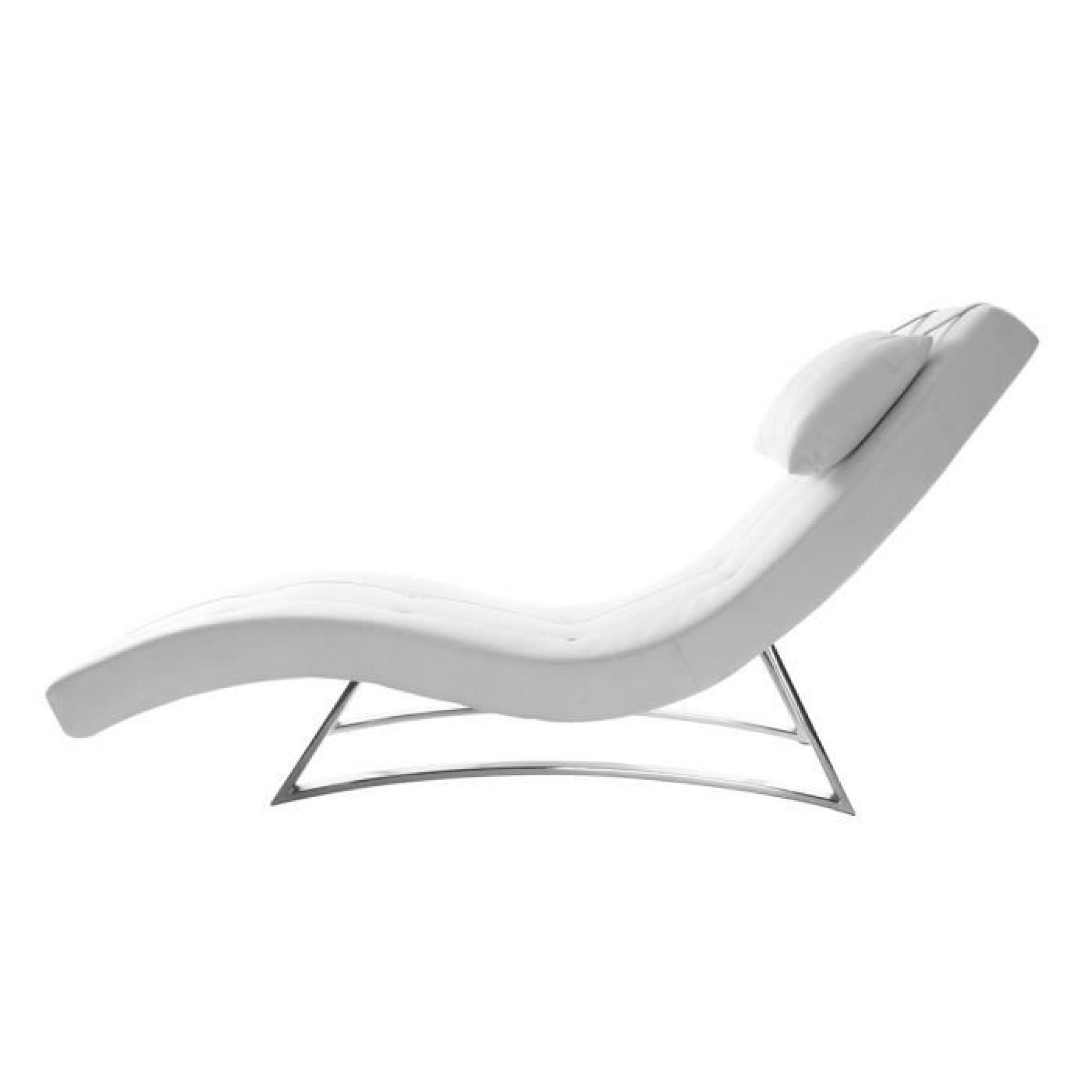 Chaise longue design blanc MONACO Miliboo