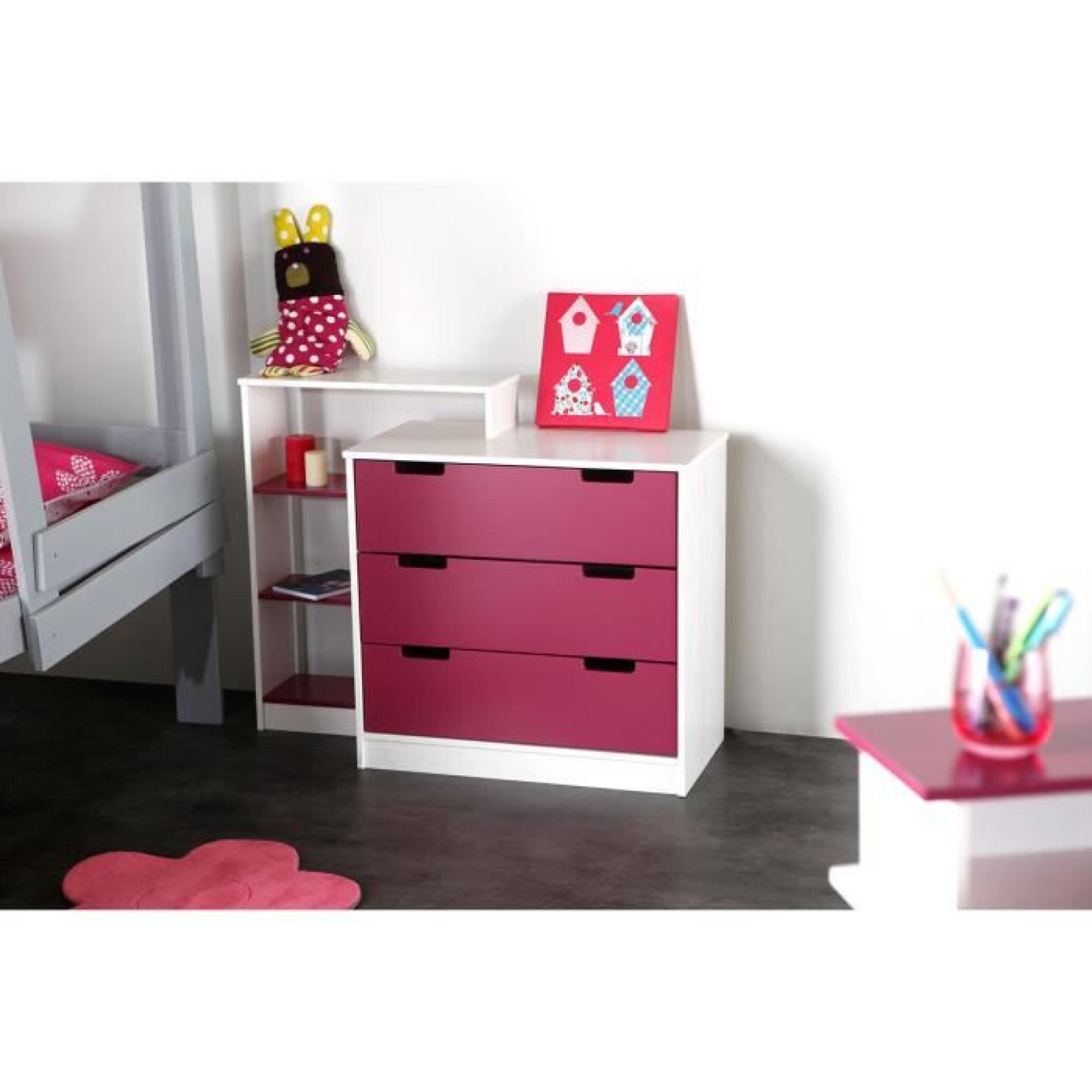 miliboo commode enfant blanche fushia crea achat vente. Black Bedroom Furniture Sets. Home Design Ideas