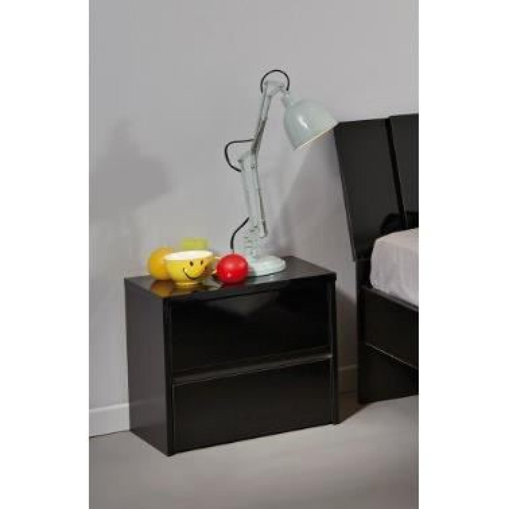 MIRAGE Chevet 44cm noir brillant