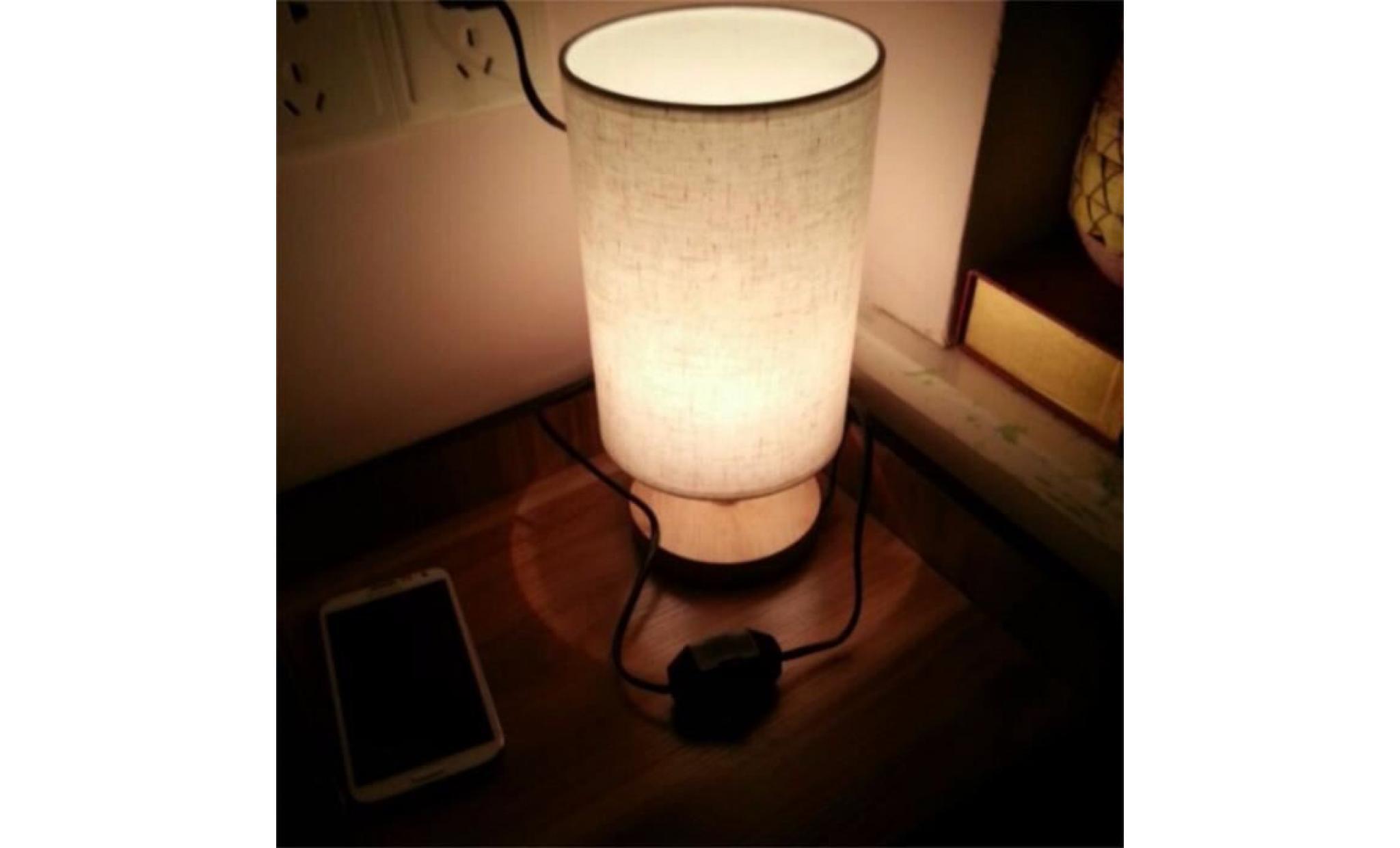 Lampe 80 Dimmer Déco Couleurs Tissu Chambre Bar Simple Mode 265v Moderne Table 5w Lumière 5 Led 0 Bois Beige Chevet Pour De E27 l5TK31uFcJ