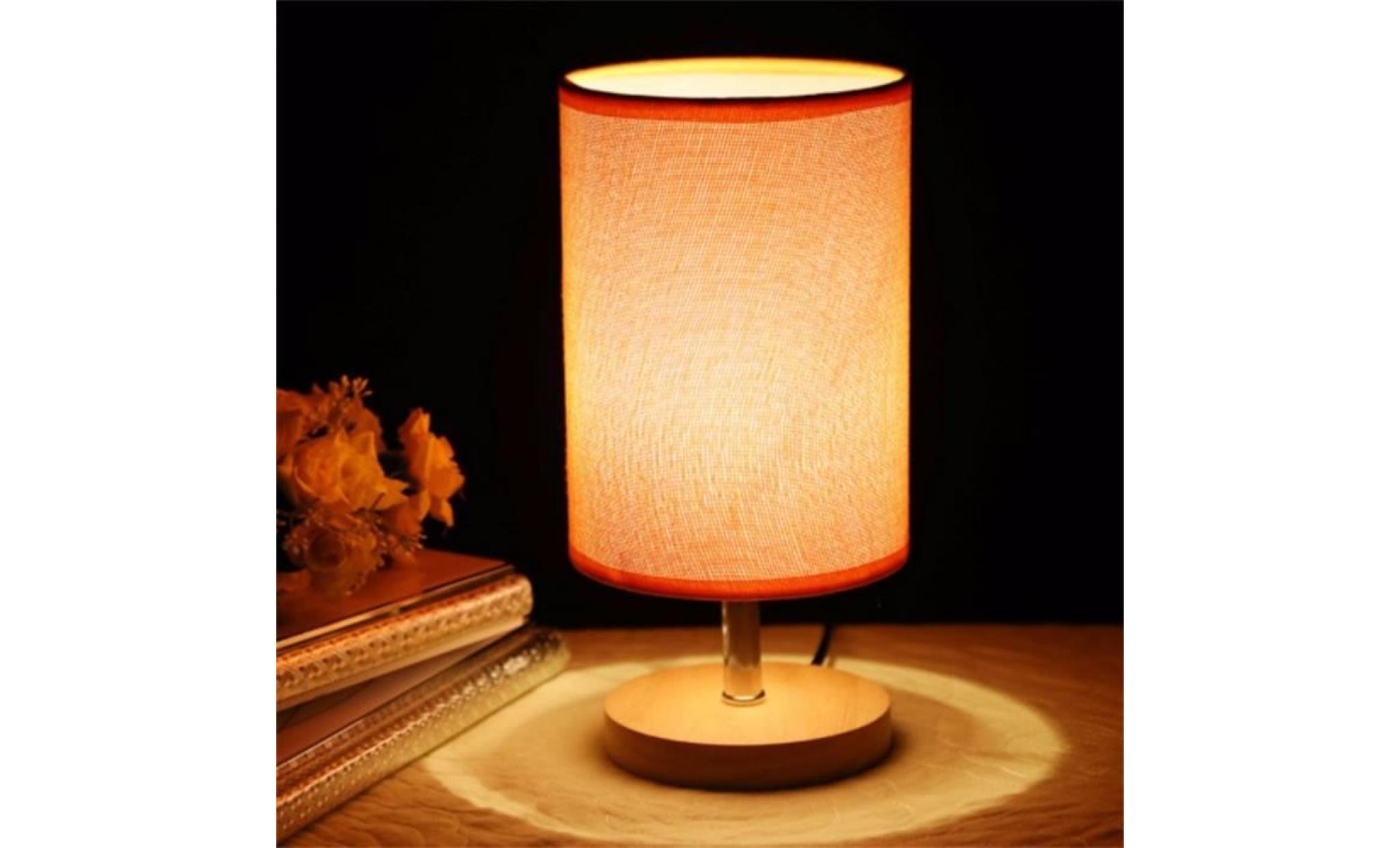 Couleurs Lampe Bois E27 Dimmer Mode Chambre Déco 5w Simple Led Beige Pour Chevet 265v 5 80 Table Bar 0 Tissu Moderne Lumière De EDI9WHY2