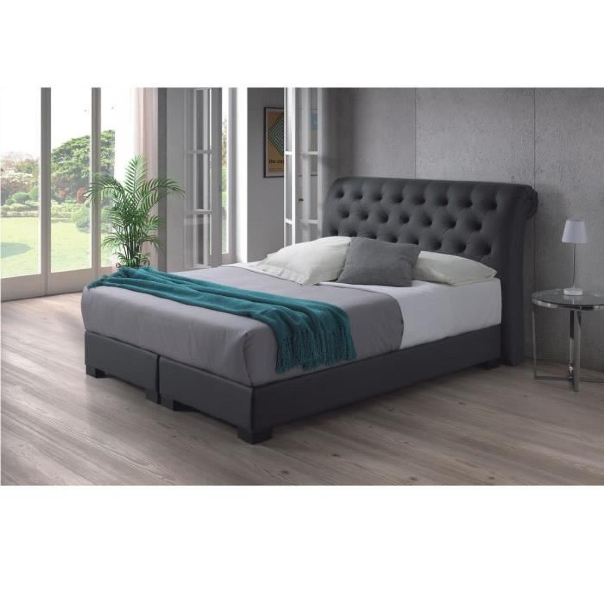 molly lit adulte 160x200 cm boxspring avec matelas gris. Black Bedroom Furniture Sets. Home Design Ideas
