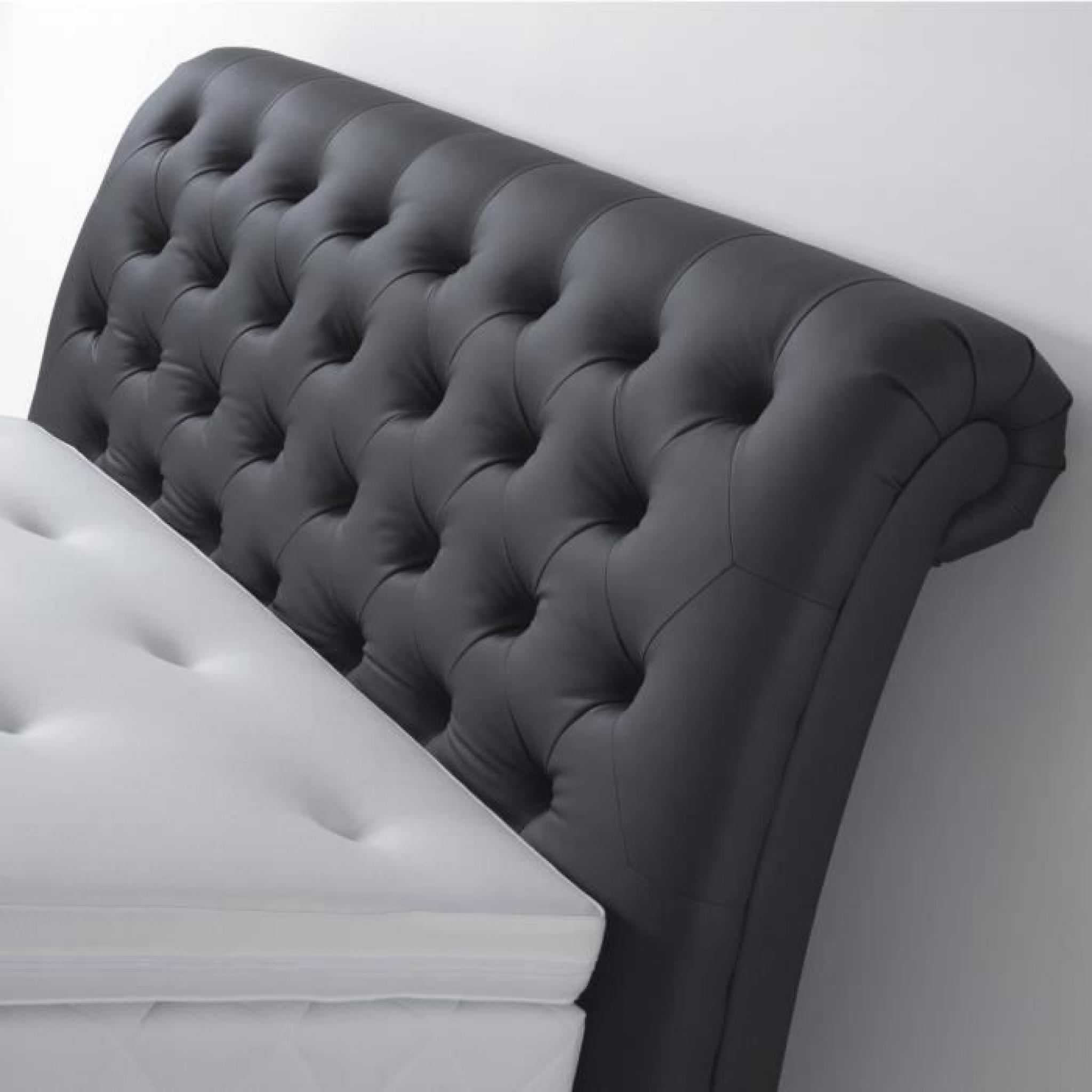 molly lit adulte 160x200 cm boxspring avec matelas gris achat vente lit pas cher couleur. Black Bedroom Furniture Sets. Home Design Ideas