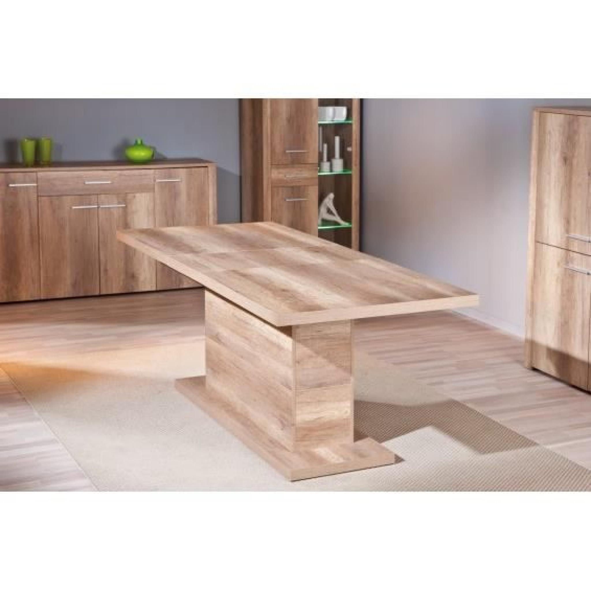 Myca ch ne table pied central avec allonge achat vente - Table salle a manger design pied central ...