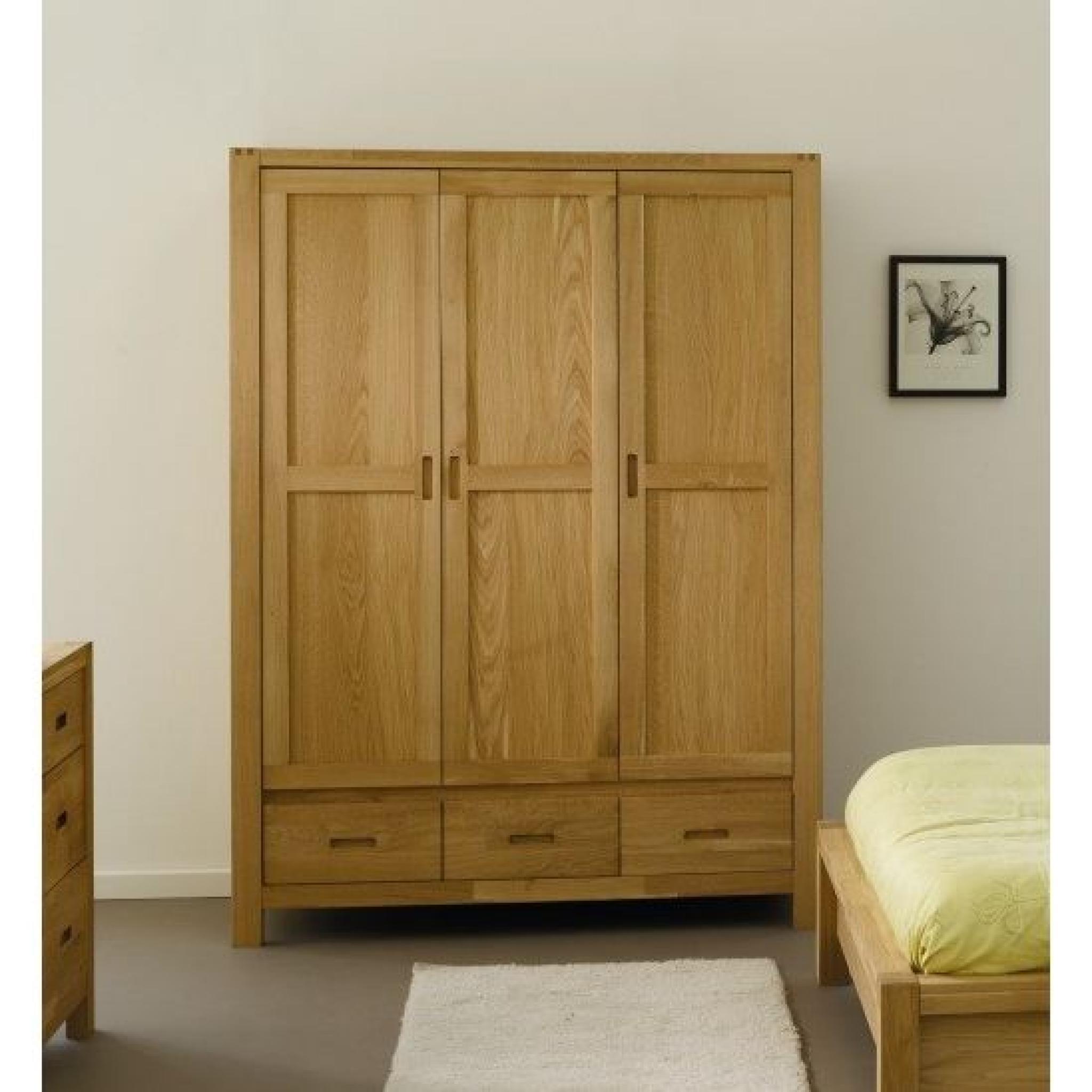 nathan armoire 3 portes en ch ne massif achat vente. Black Bedroom Furniture Sets. Home Design Ideas