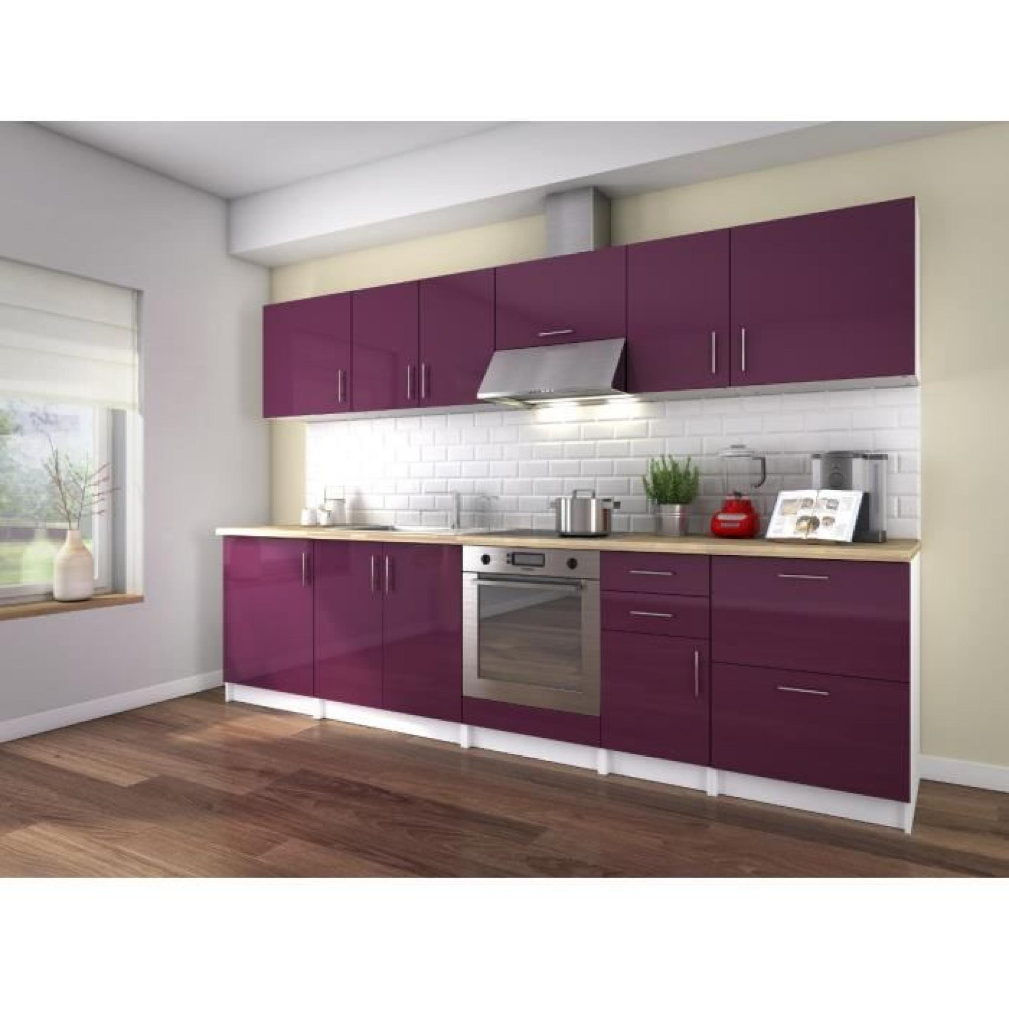 neo cuisine compl te 3m laqu aubergine haute brillance achat vente cuisine complete pas. Black Bedroom Furniture Sets. Home Design Ideas