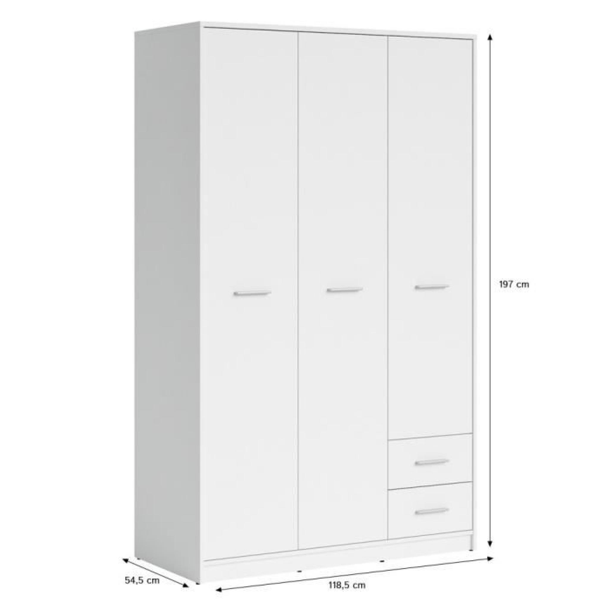 nepo armoire 3 portes 2 tiroirs blanche achat vente. Black Bedroom Furniture Sets. Home Design Ideas
