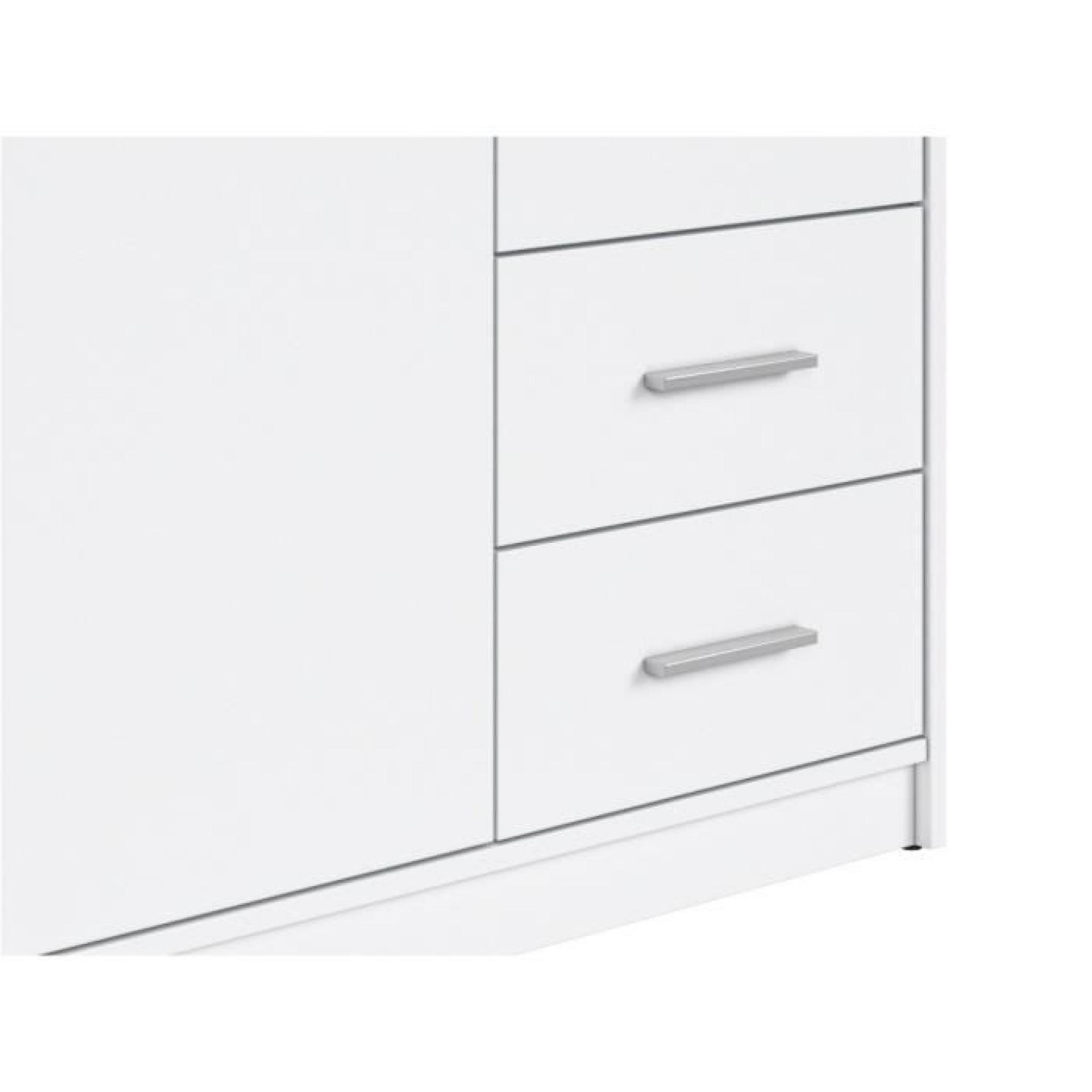 nepo armoire 3 portes 2 tiroirs blanche achat vente armoire de chambre pas cher couleur et. Black Bedroom Furniture Sets. Home Design Ideas