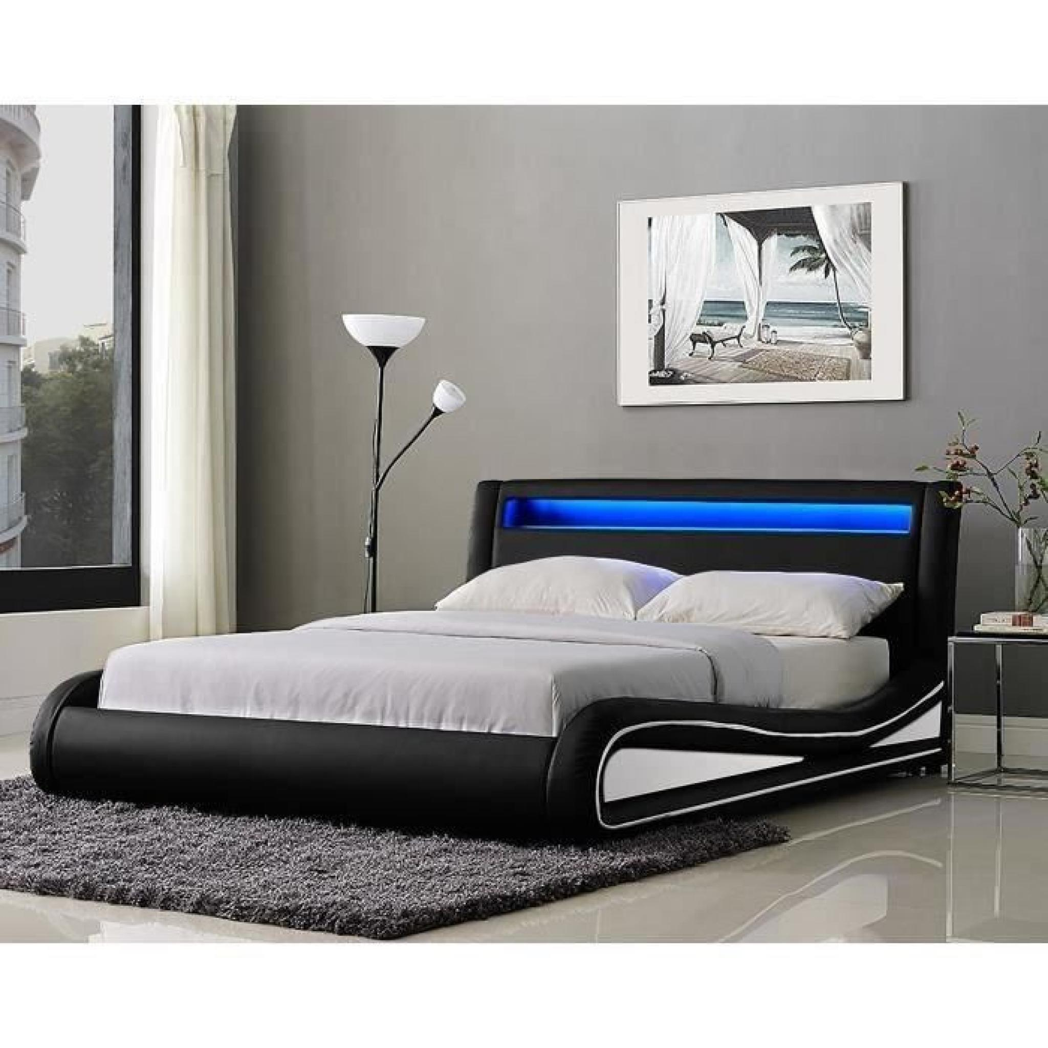 neptune lit led adulte 180x200 cm noir et blanc achat. Black Bedroom Furniture Sets. Home Design Ideas