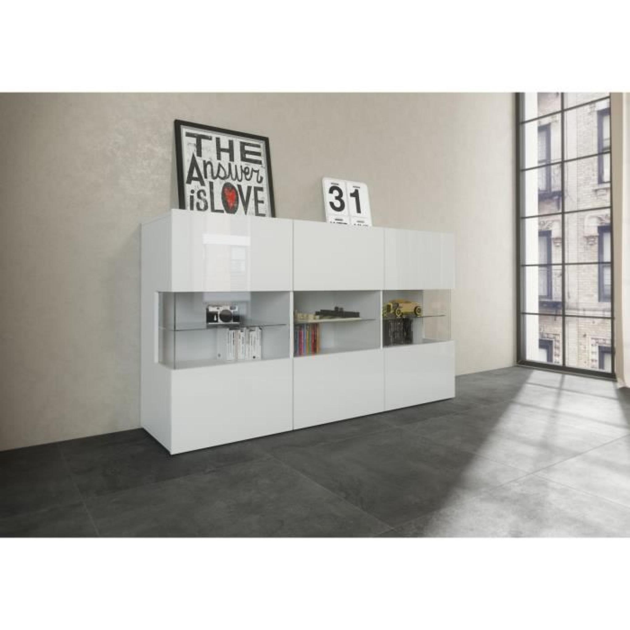 new kiss buffet 150cm laqu blanc achat vente buffet pas cher couleur et. Black Bedroom Furniture Sets. Home Design Ideas