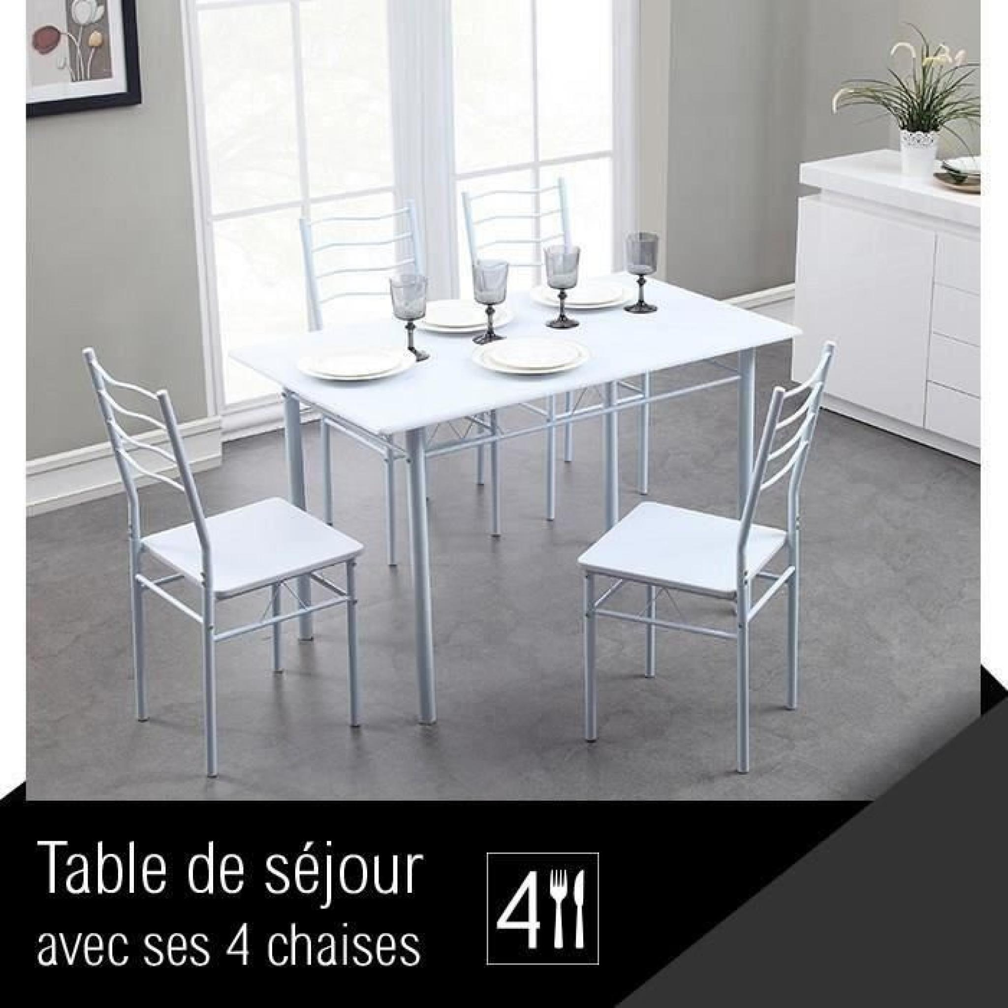 Nina Ensemble Repas Coloris Blanc 5 Pieces 1 Table A Manger 4