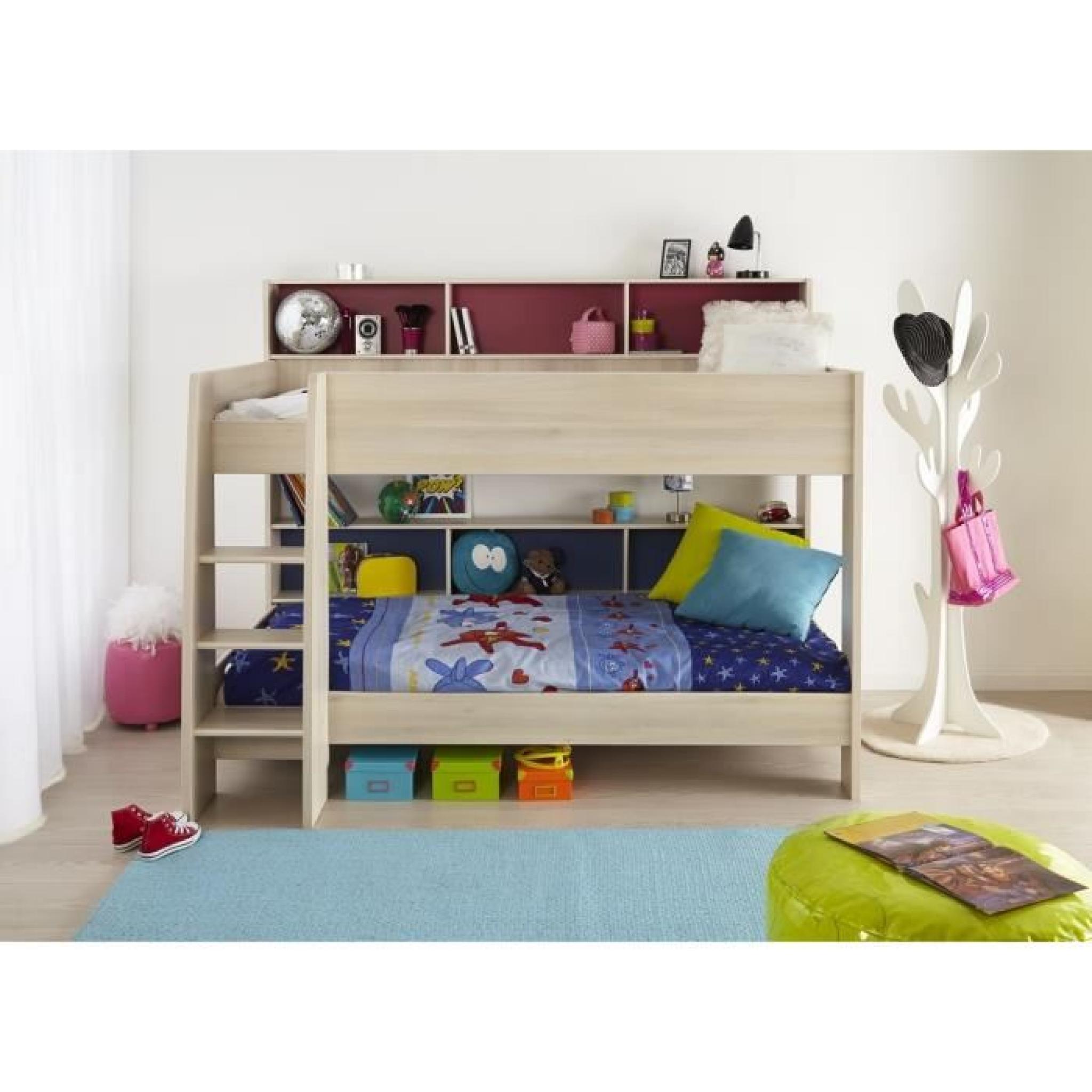 noa lit enfant superpos 90x200 cm acacia rose et bleu achat vente lit pas cher couleur et. Black Bedroom Furniture Sets. Home Design Ideas