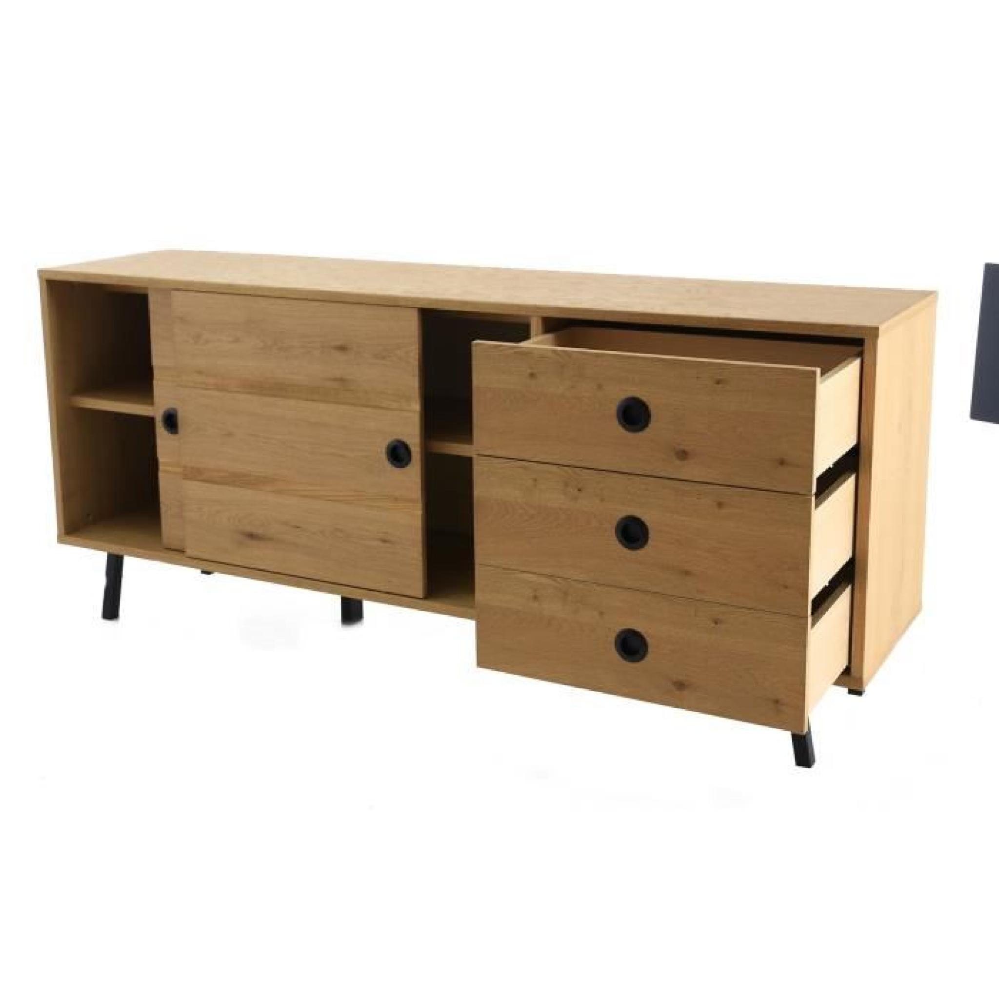 norway meuble buffet bas 2 portes coulissantes et 3 tiroirs achat vente buffet pas cher. Black Bedroom Furniture Sets. Home Design Ideas