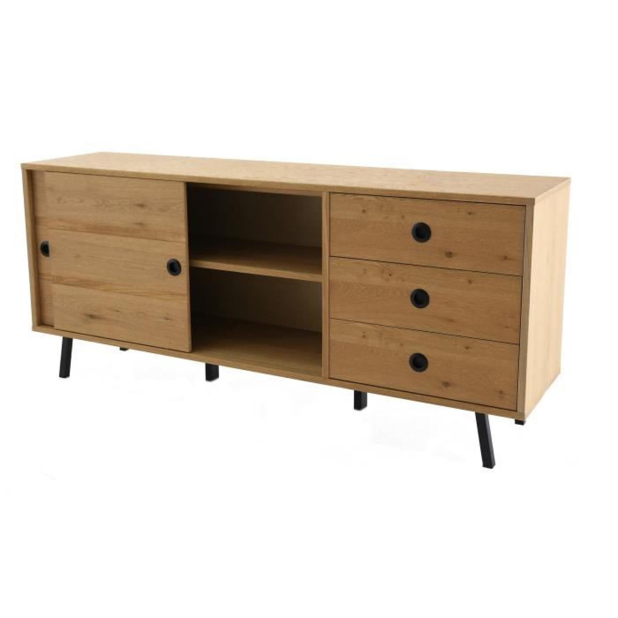 norway meuble buffet bas 2 portes coulissantes et 3. Black Bedroom Furniture Sets. Home Design Ideas