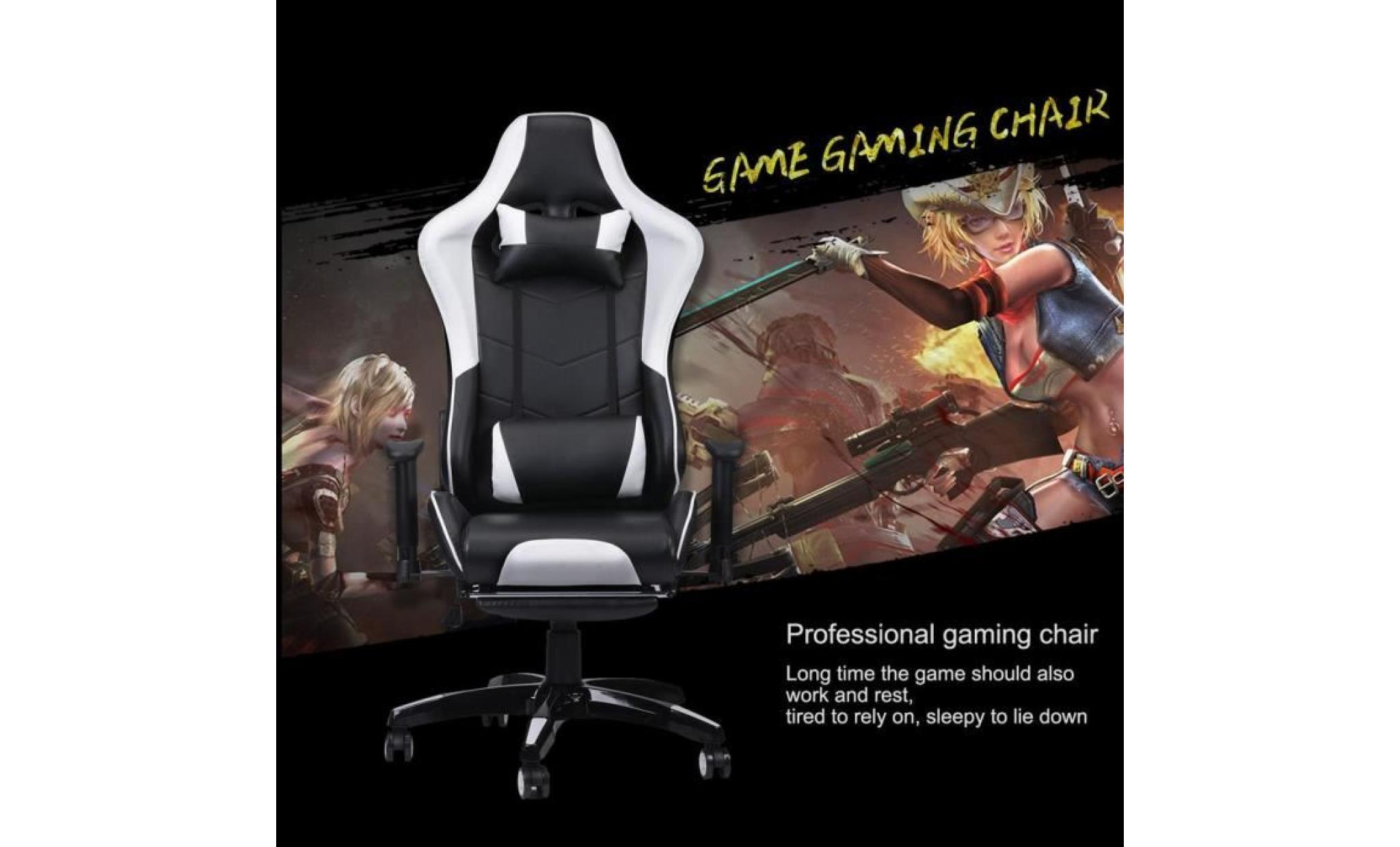 Phenomenal Nouveau Siege Gaming Blanche Fauteuil De Jeu Repose Pied Lamtechconsult Wood Chair Design Ideas Lamtechconsultcom