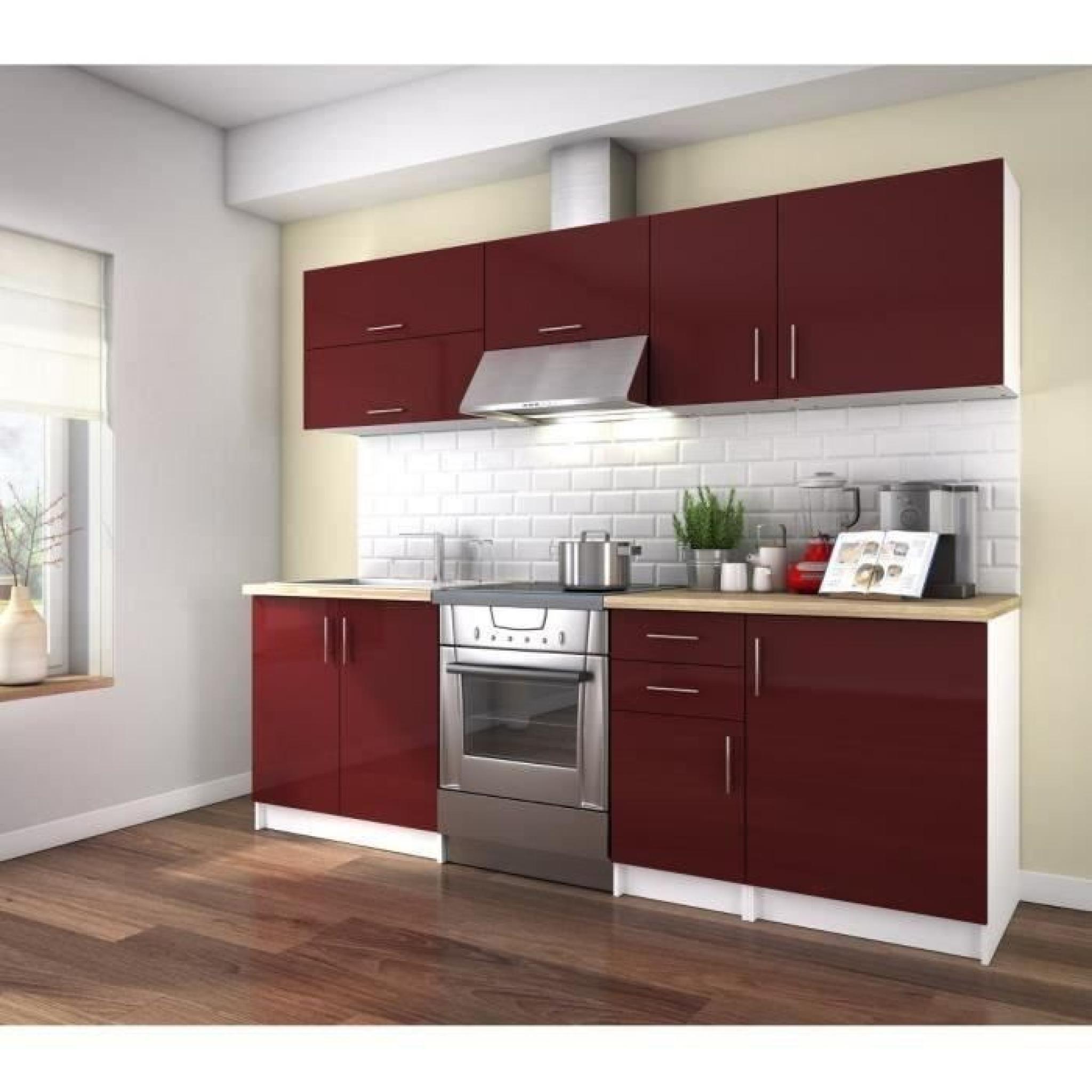 obi cuisine compl te 2m40 laqu bordeaux haute brillance achat vente cuisine complete pas. Black Bedroom Furniture Sets. Home Design Ideas
