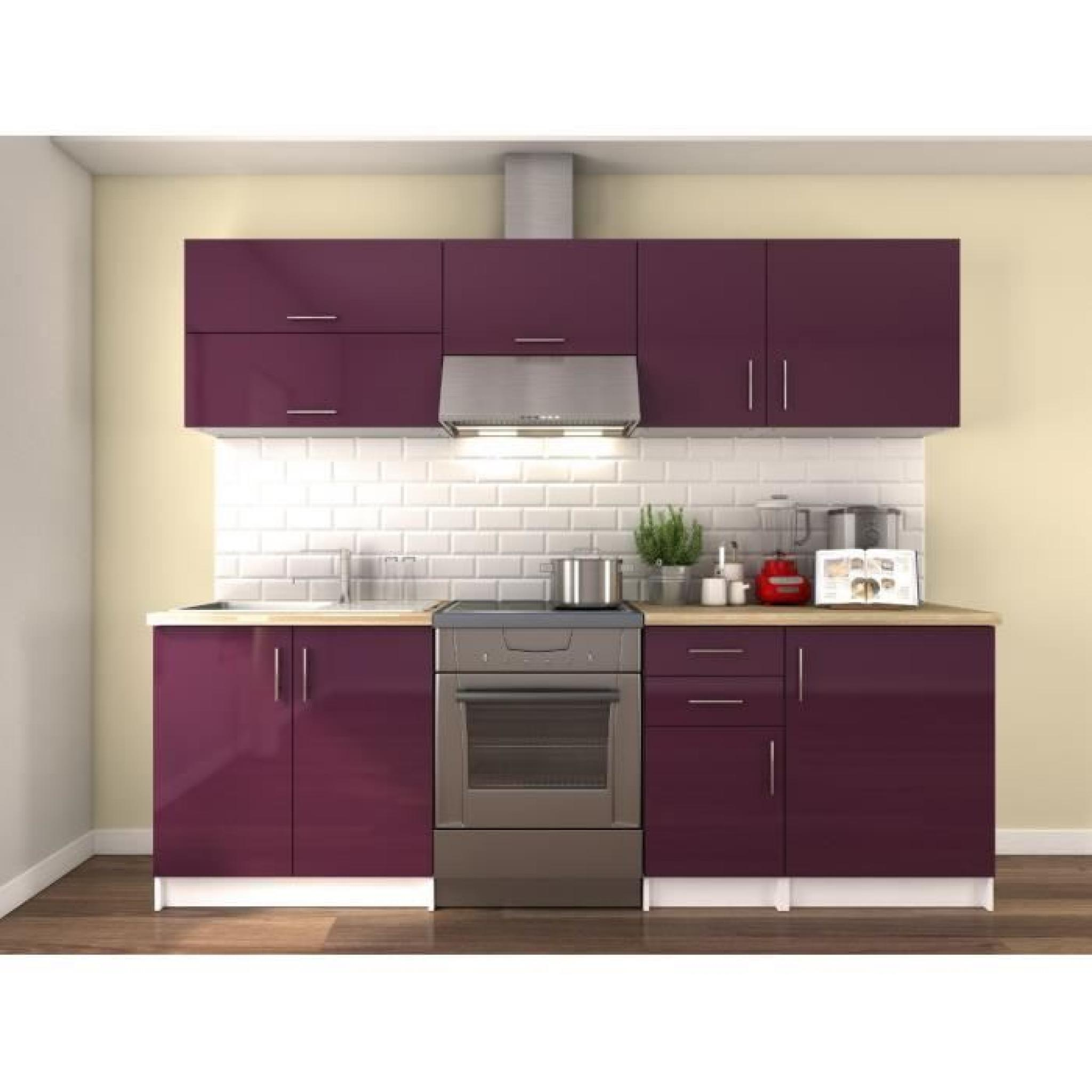 obi cuisine compl te 2m40 laqu bordeaux haute brillance achat vente cuisine complete pas. Black Bedroom Furniture Sets. Home Design Ideas