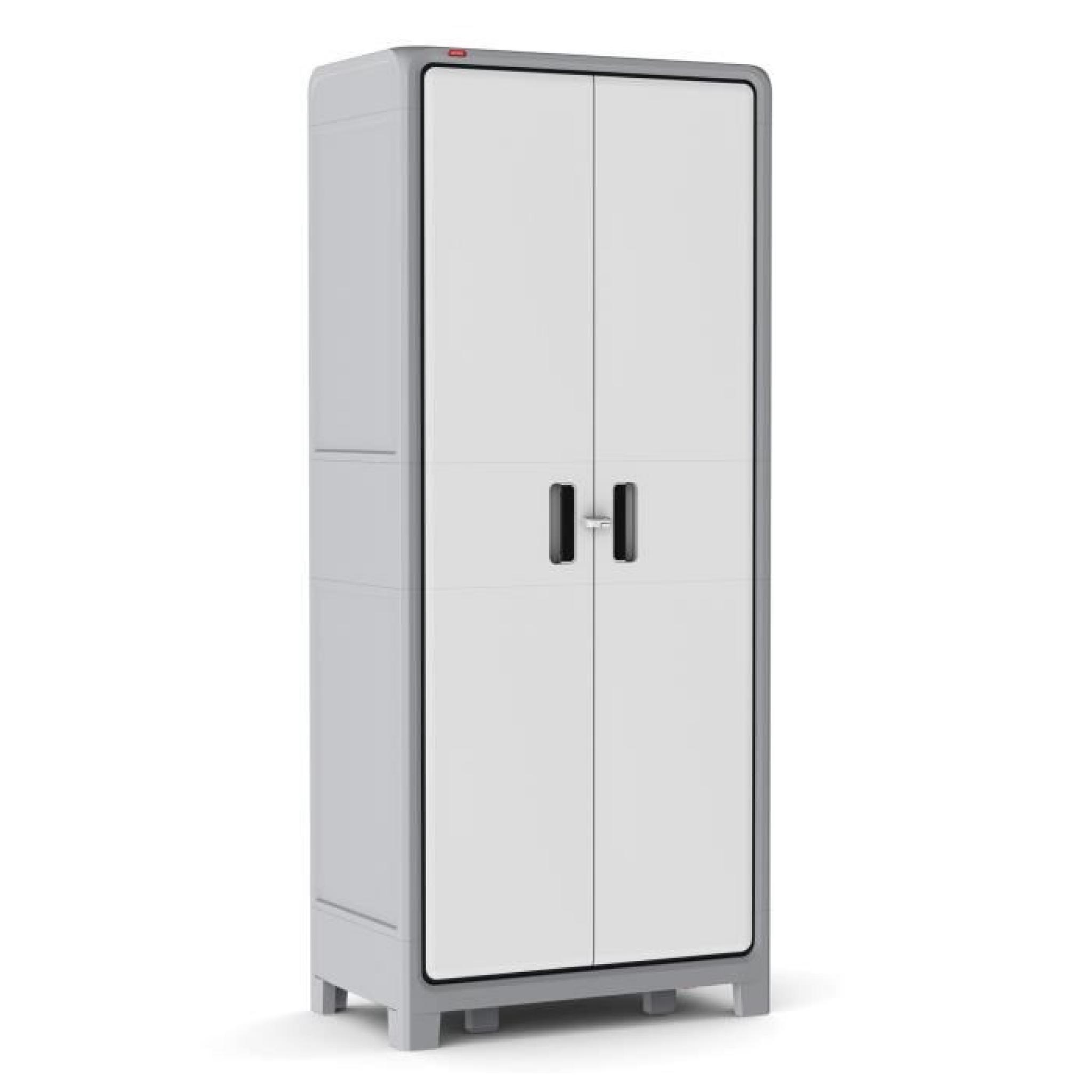 Optima armoire haute gris blanc achat vente armoire de for Armoire blanc pas cher