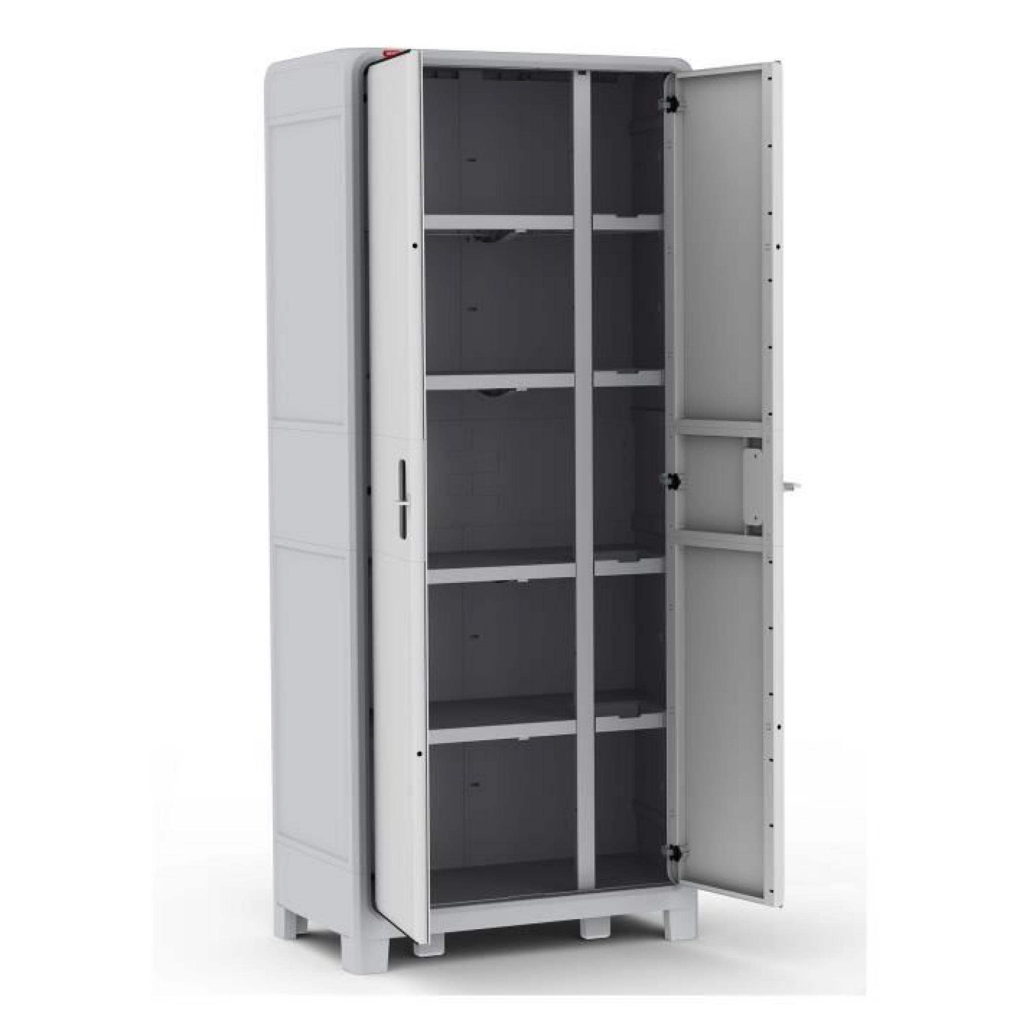 Optima armoire haute gris blanc achat vente armoire de chambre pas cher c - Achat armoire pas cher ...