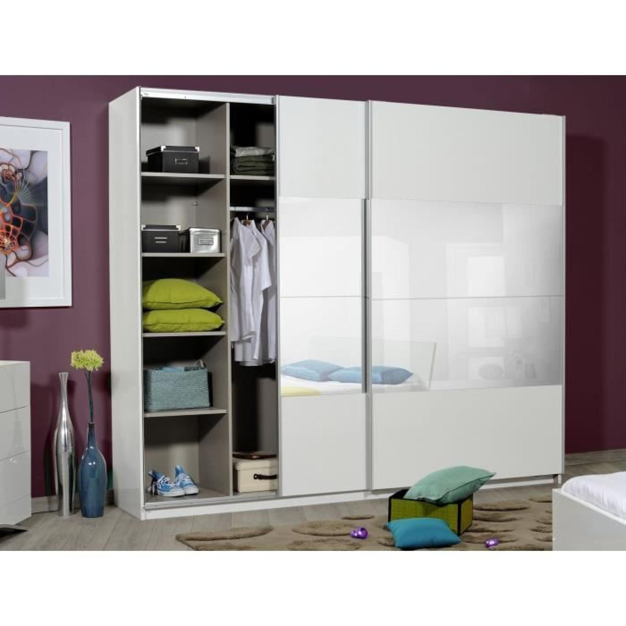 optimus maxi armoire dressing 260 cm blanc achat vente armoire de chambre pas cher couleur. Black Bedroom Furniture Sets. Home Design Ideas