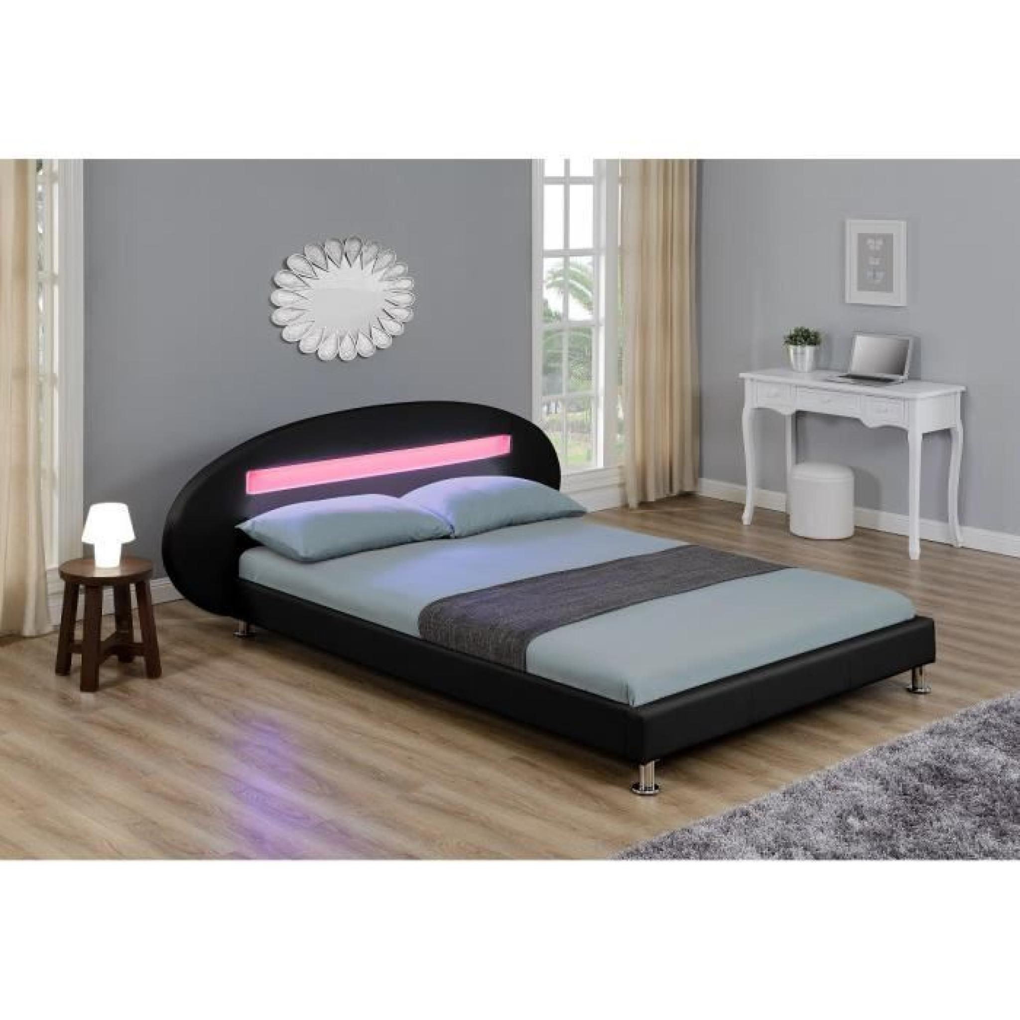 orion lit led adulte 140 x 190 cm noir achat vente lit pas cher couleur et. Black Bedroom Furniture Sets. Home Design Ideas