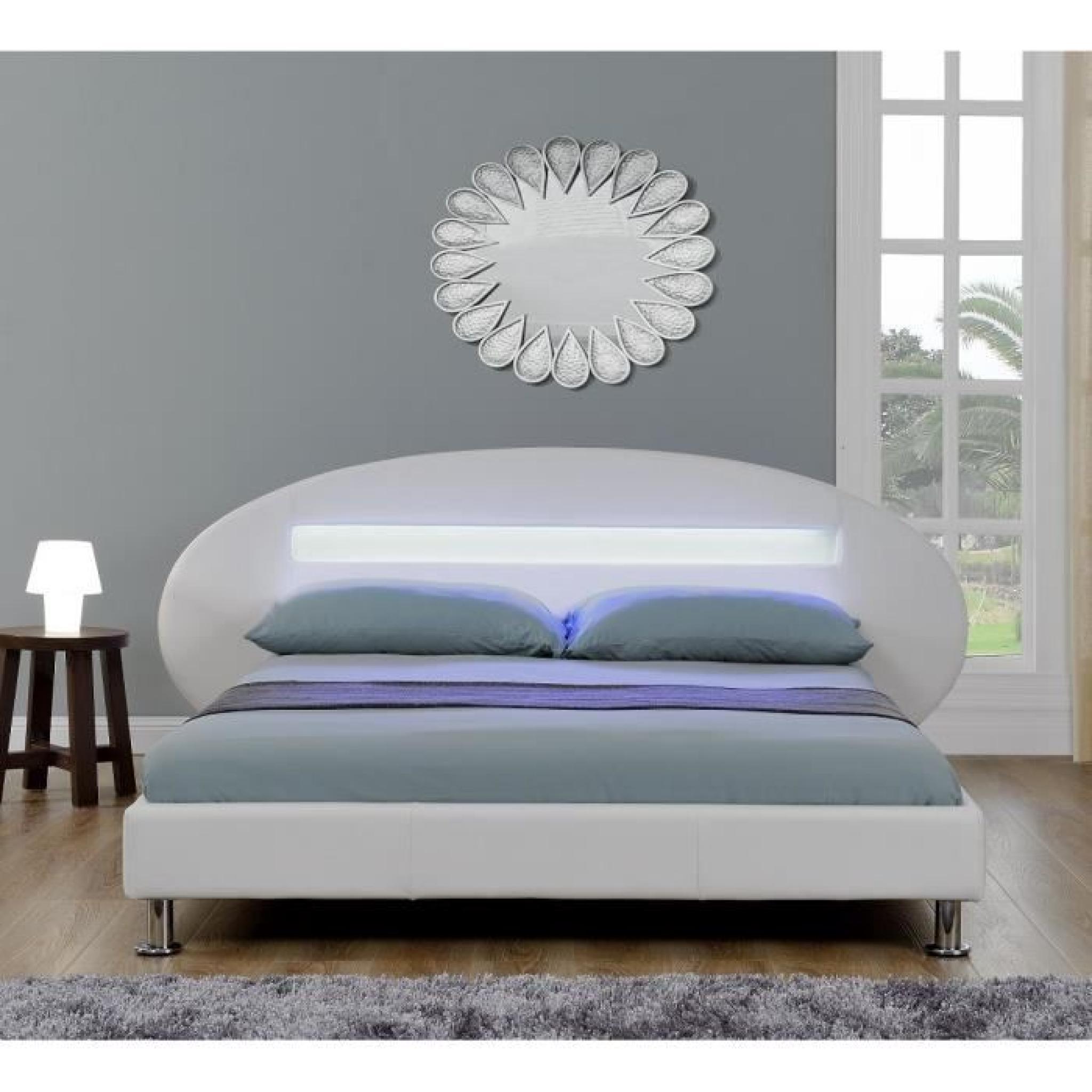 orion lit led adulte 160x200 cm blanc achat vente lit pas cher couleur et. Black Bedroom Furniture Sets. Home Design Ideas