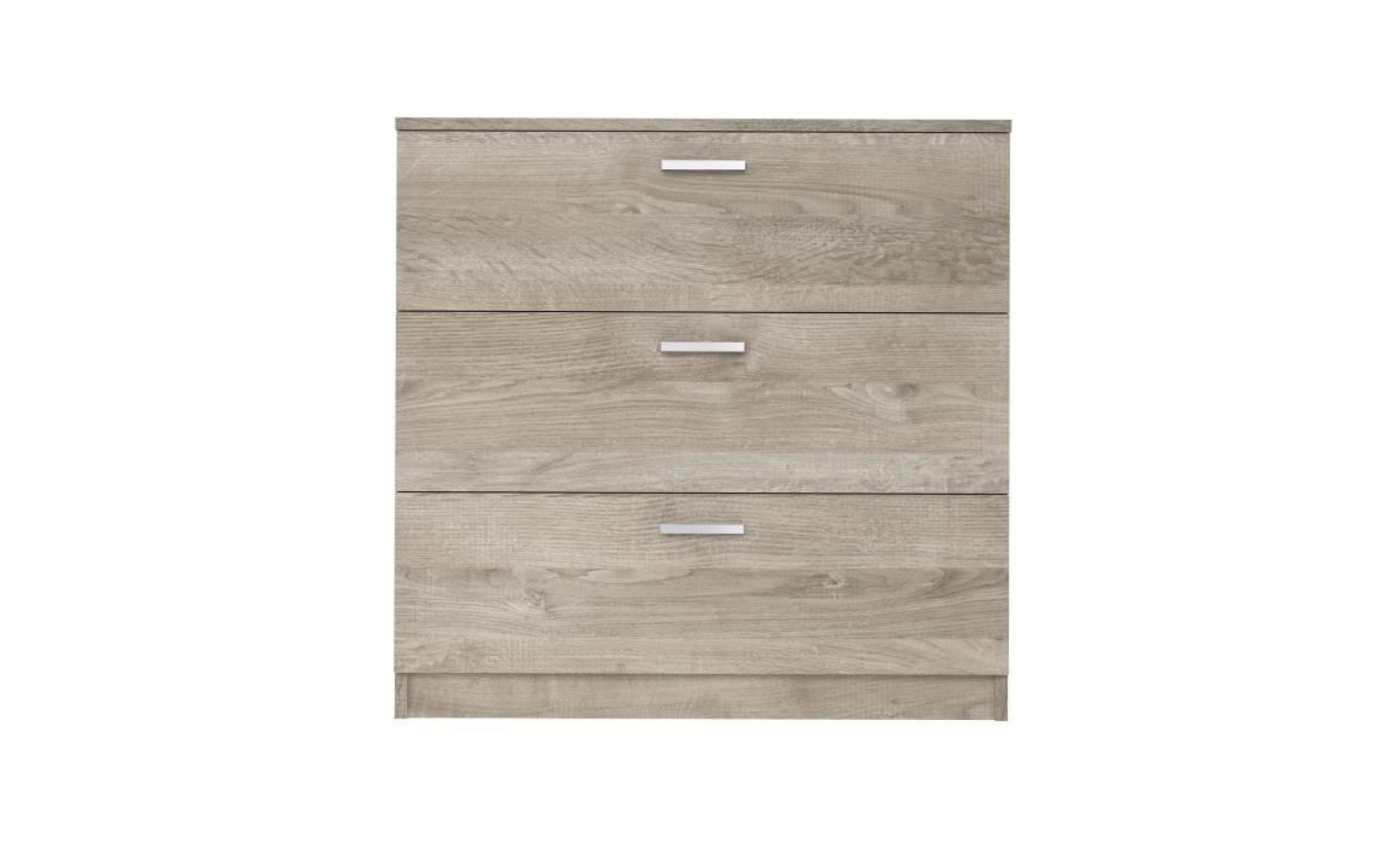 pas mal 3bdb5 809db oskar ensemble meubles de chambre contemporain décor chêne armoire l 80,  commode l 80 et chevet l 45 cm