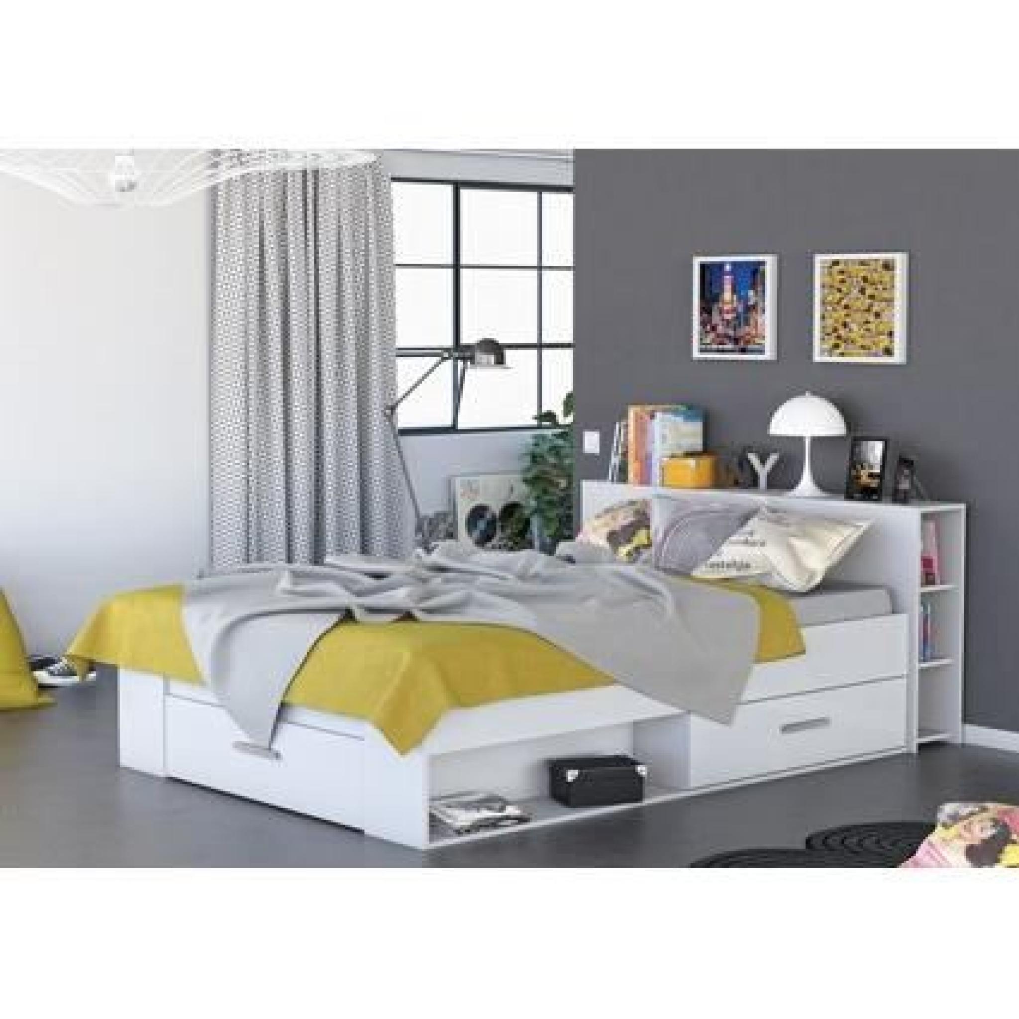 OXYGENE Lit adulte + rangements 140x190 blanc - Achat/Vente lit pas cher - Couleur-et-design.fr