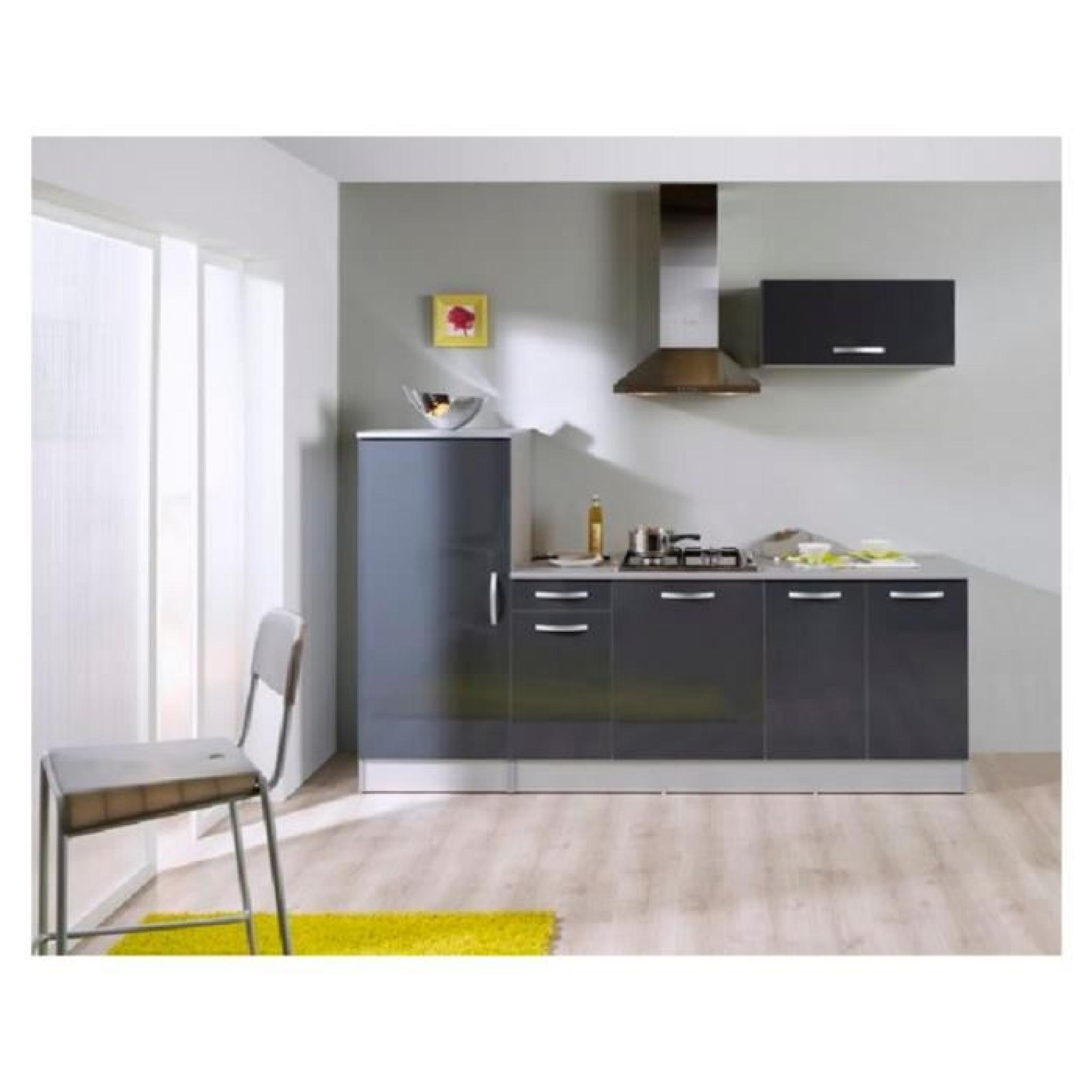 Pack cuisine 3 meubles adeline gris brillant achat for Cuisine complete design