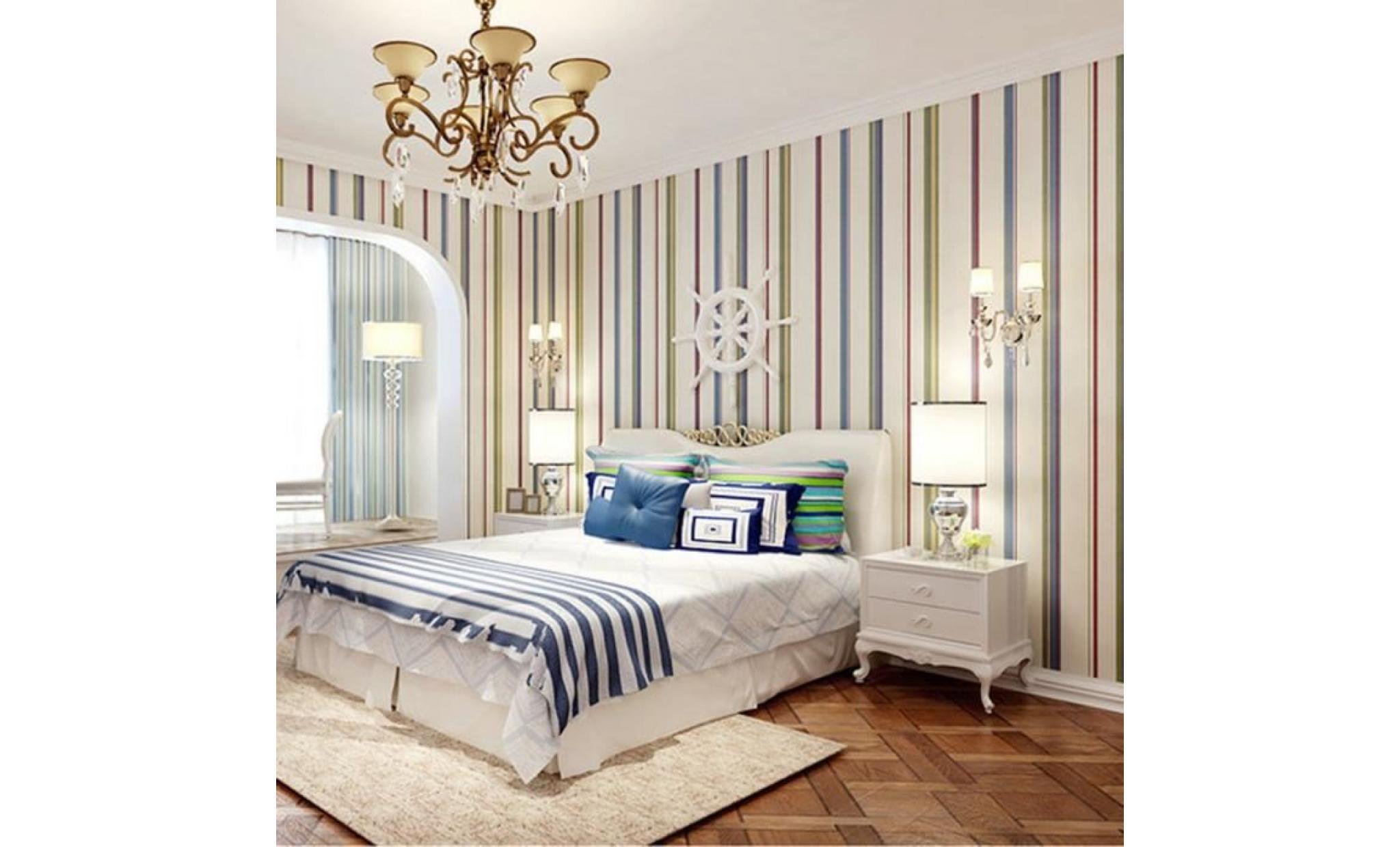 papier moderne de rouleau de mur de décor de maison de chambre à coucher de  la rayure verticale verticale 3d non tissée