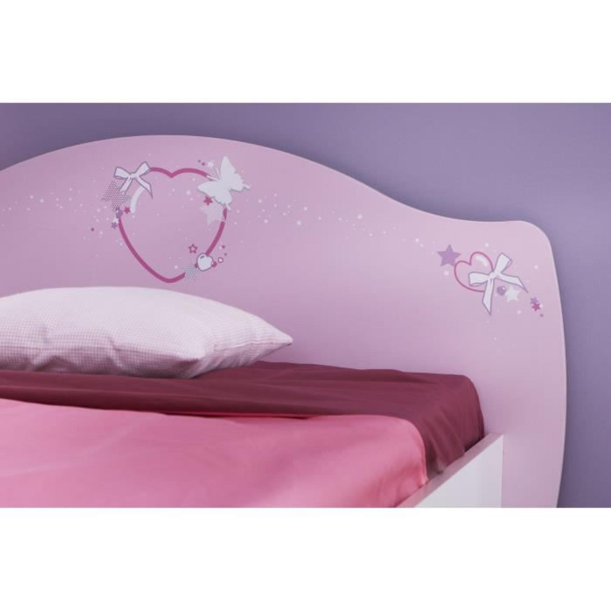 papillon lit enfant 90 x 190 200 cm rose blanc achat. Black Bedroom Furniture Sets. Home Design Ideas