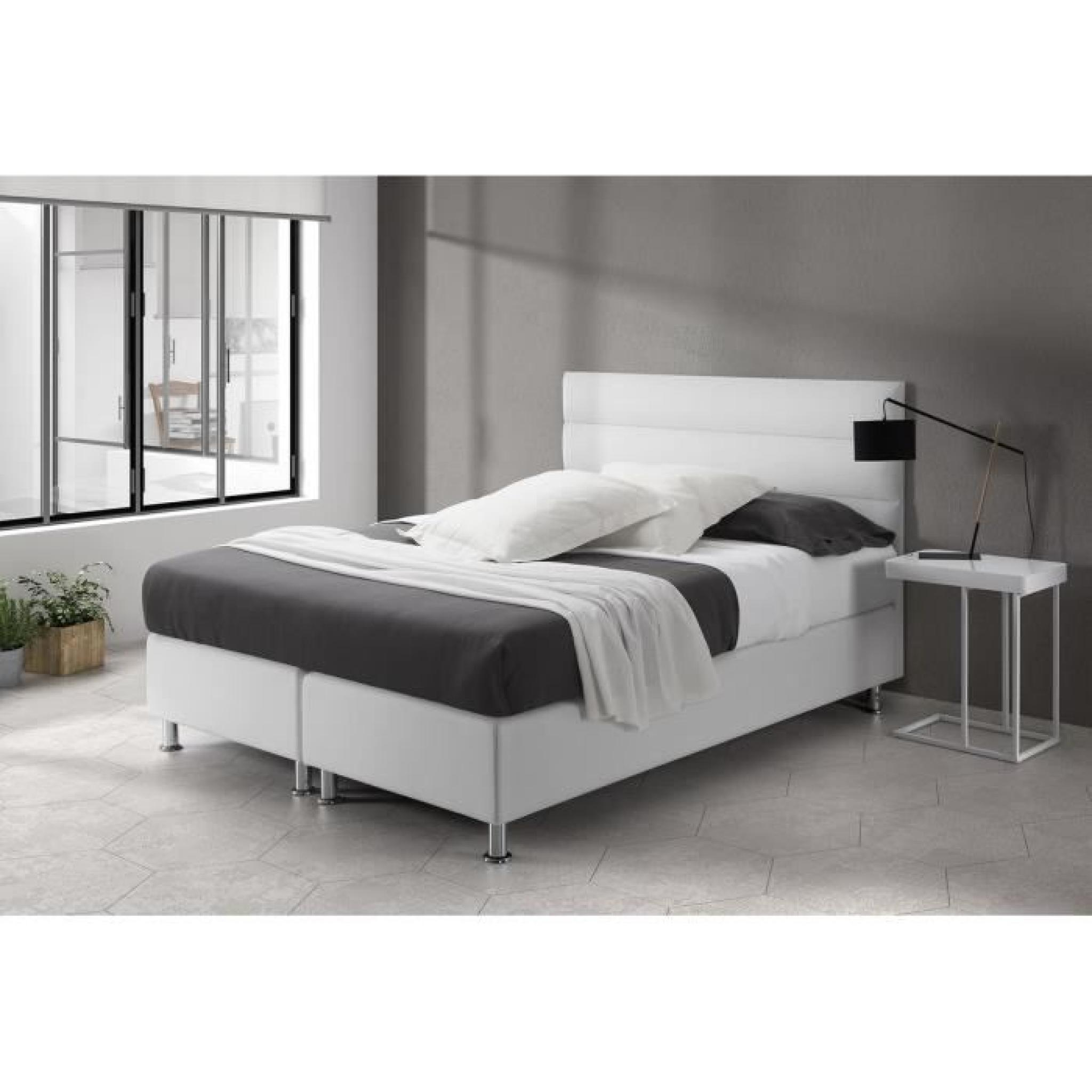 pari lit matelas boxspring 160x200 cm blanc achat vente lit pas cher couleur et. Black Bedroom Furniture Sets. Home Design Ideas