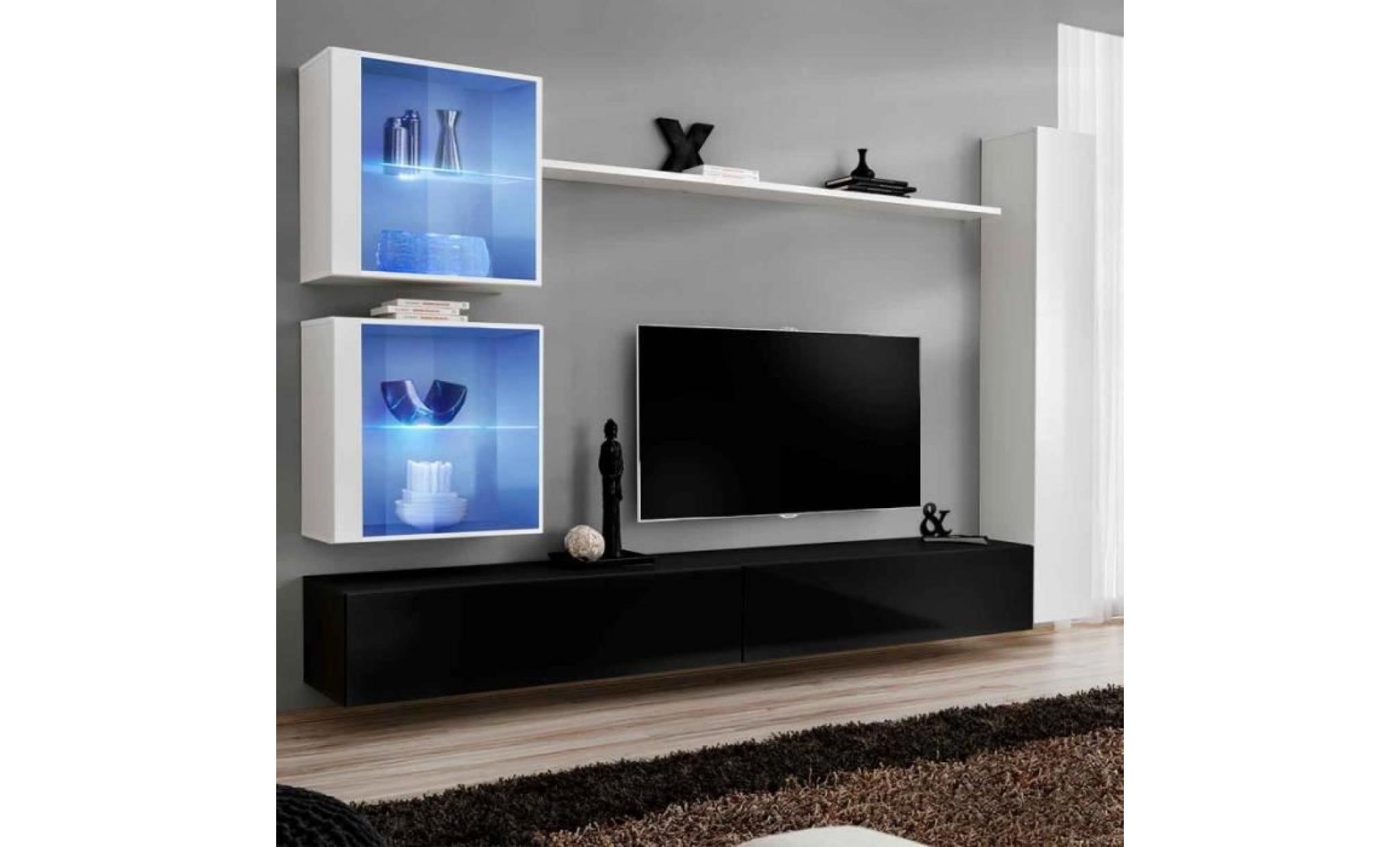 Paris Prix Meuble Tv Mural Design Switch Xviii 280cm Blanc Noir