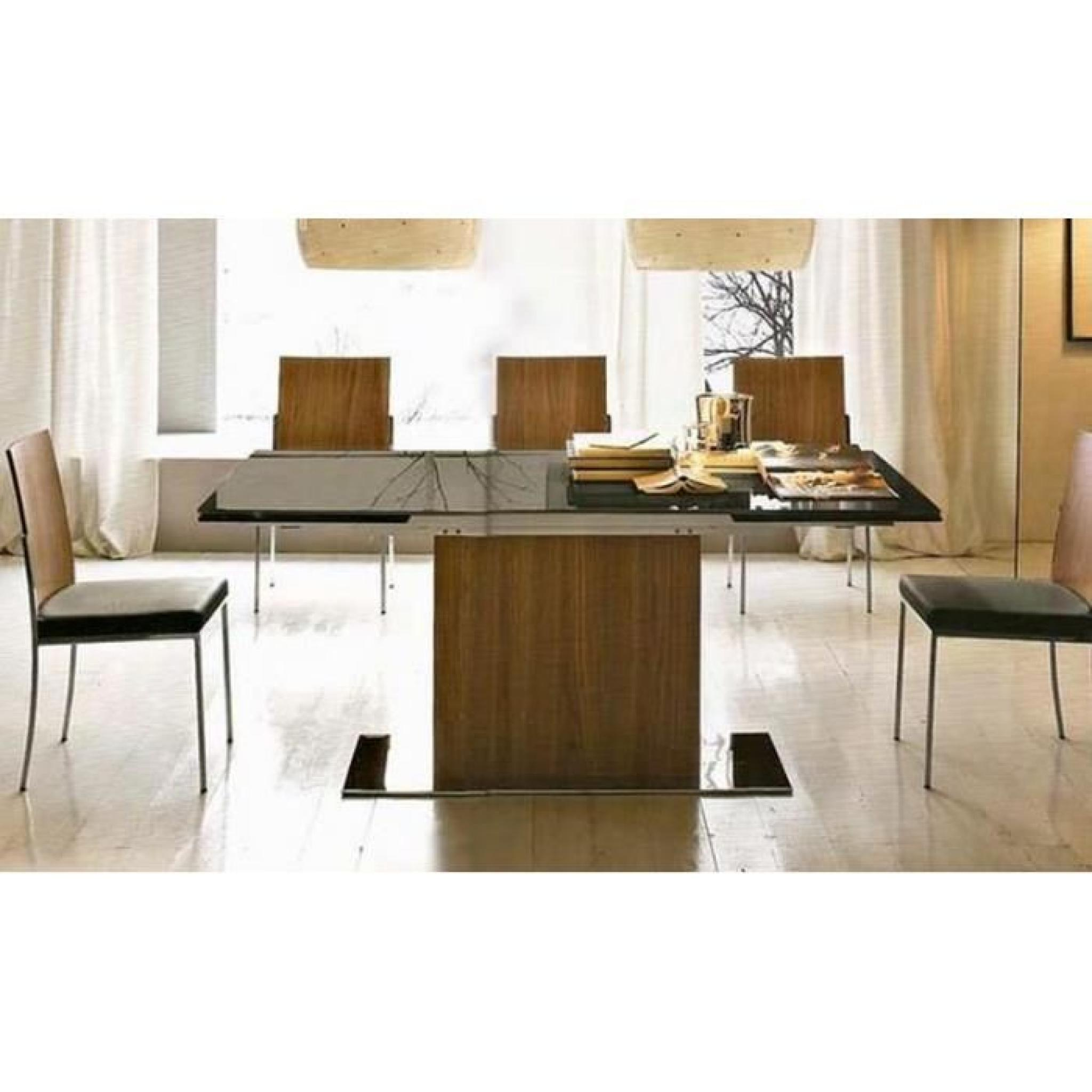 park table repas extensible haut de gamme 180x100 en verre noir de calligaris achat vente. Black Bedroom Furniture Sets. Home Design Ideas