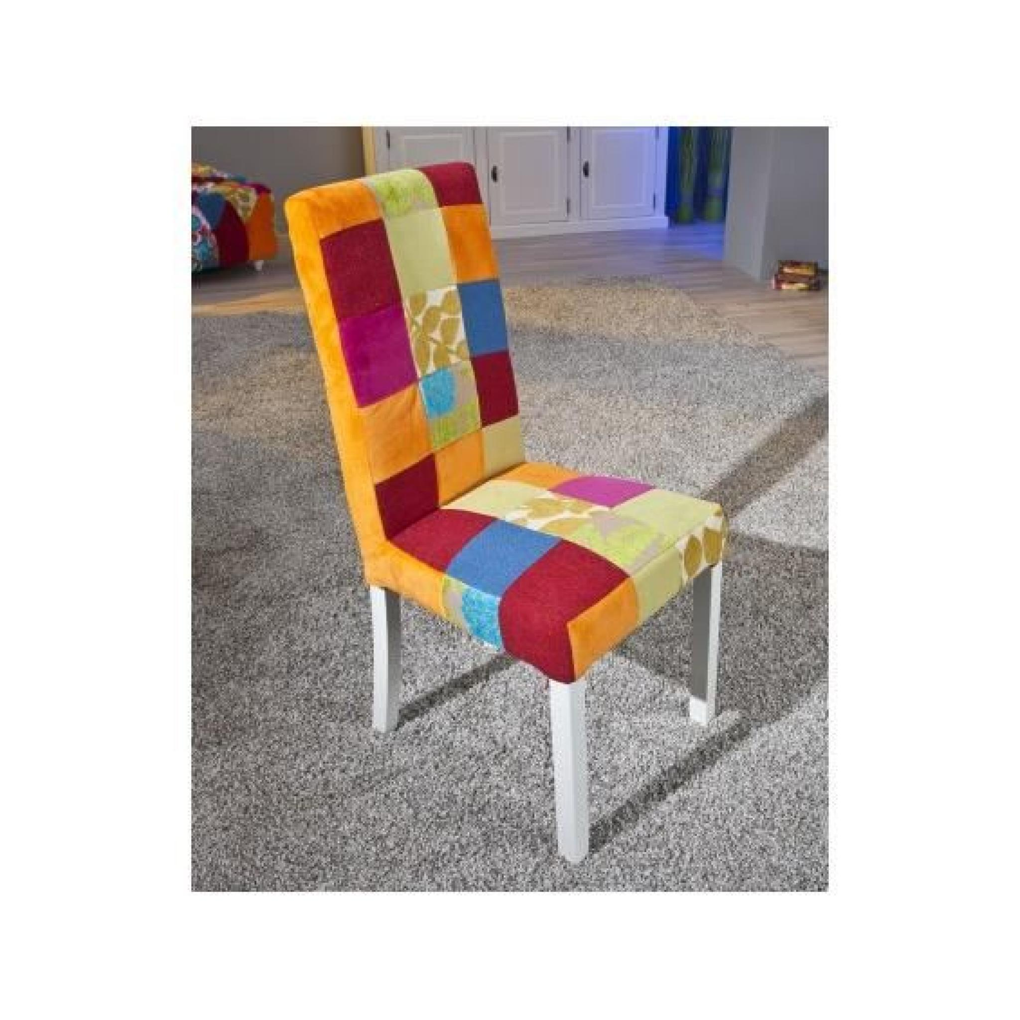 patchwork lot de 6 chaises achat vente chaise salle a manger pas cher couleur et. Black Bedroom Furniture Sets. Home Design Ideas