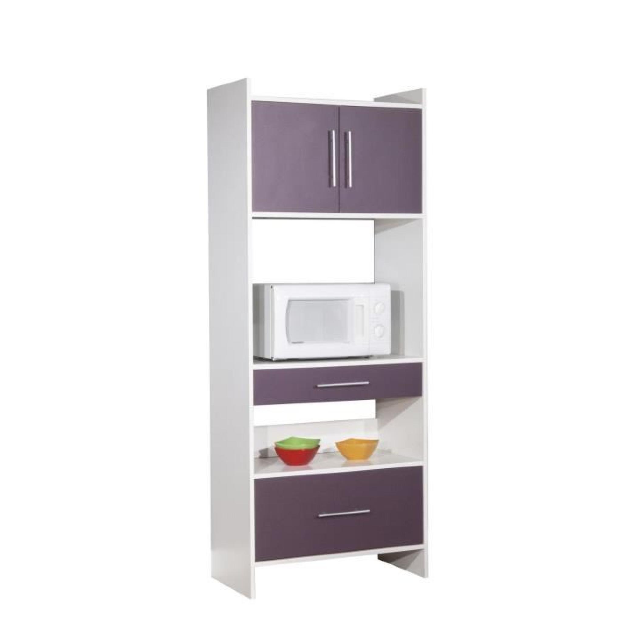 peps buffet de cuisine 70cm aubergine et blanc achat. Black Bedroom Furniture Sets. Home Design Ideas