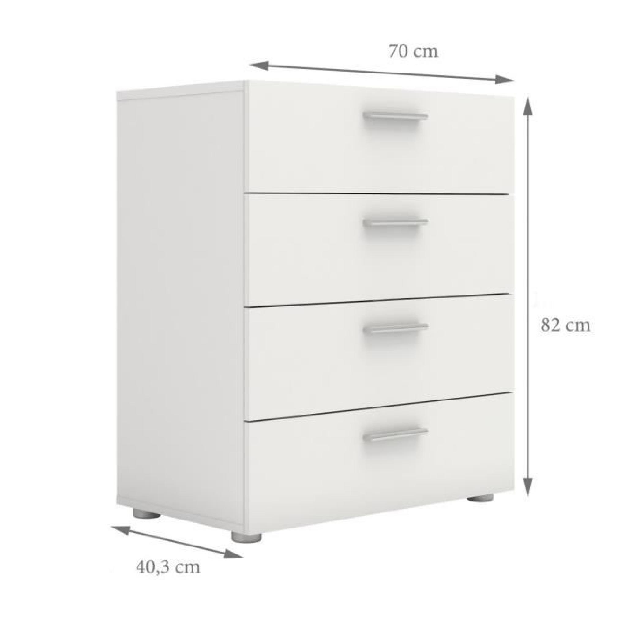 pepe commode 70x40 x82 cm blanc achat vente commode pas. Black Bedroom Furniture Sets. Home Design Ideas