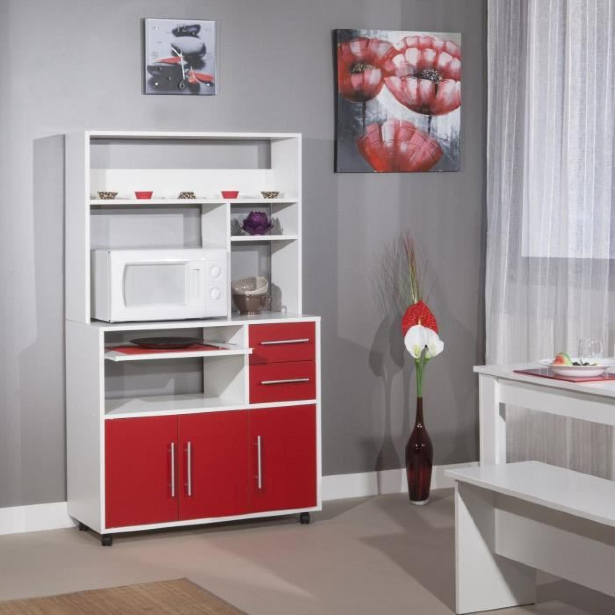 peps buffet de cuisine 89cm rouge et blanc achat vente buffet de cuisine pas cher couleur. Black Bedroom Furniture Sets. Home Design Ideas