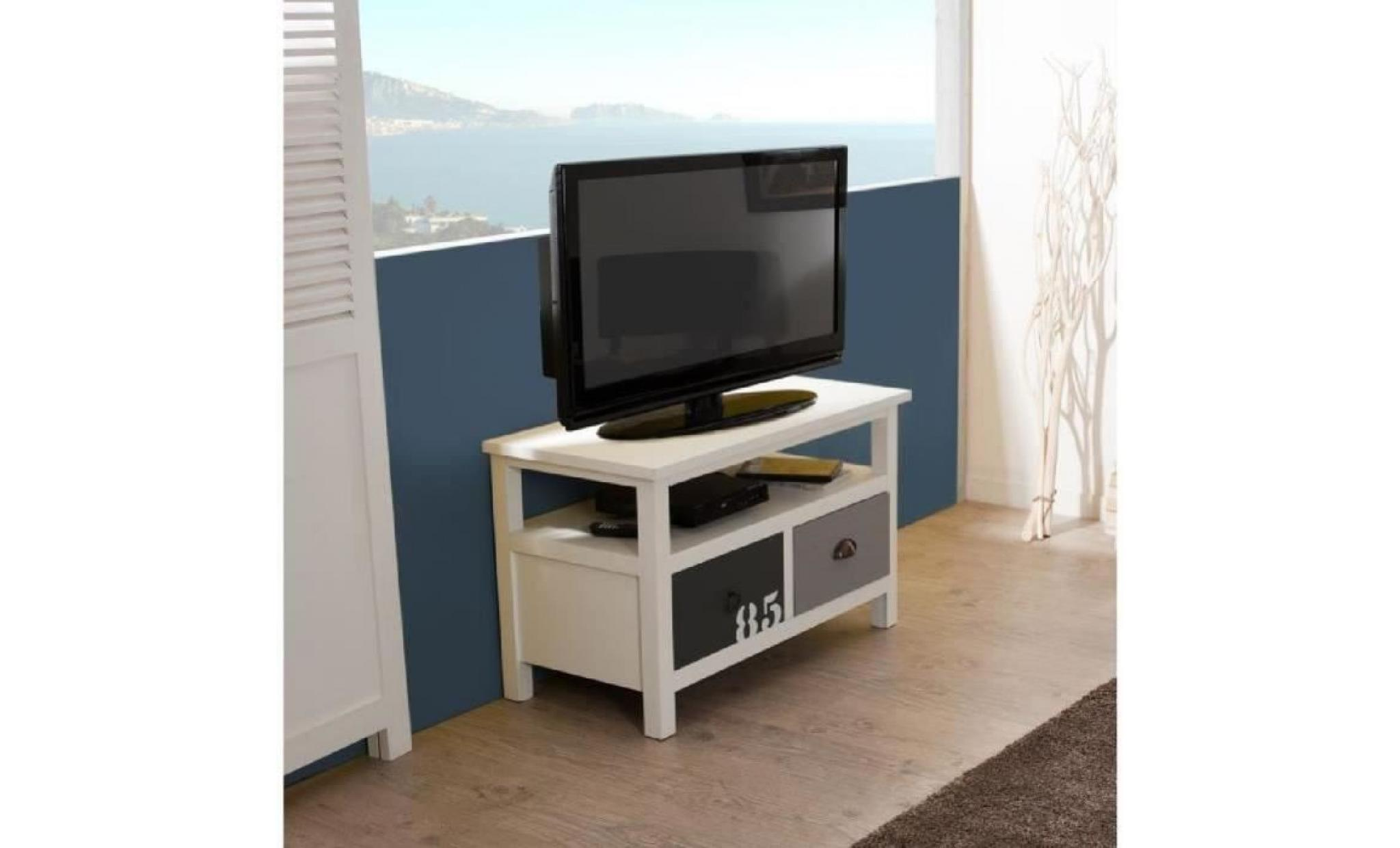 phuket meuble tv 2 tiroirs l80cm sapin mdf achat vente. Black Bedroom Furniture Sets. Home Design Ideas