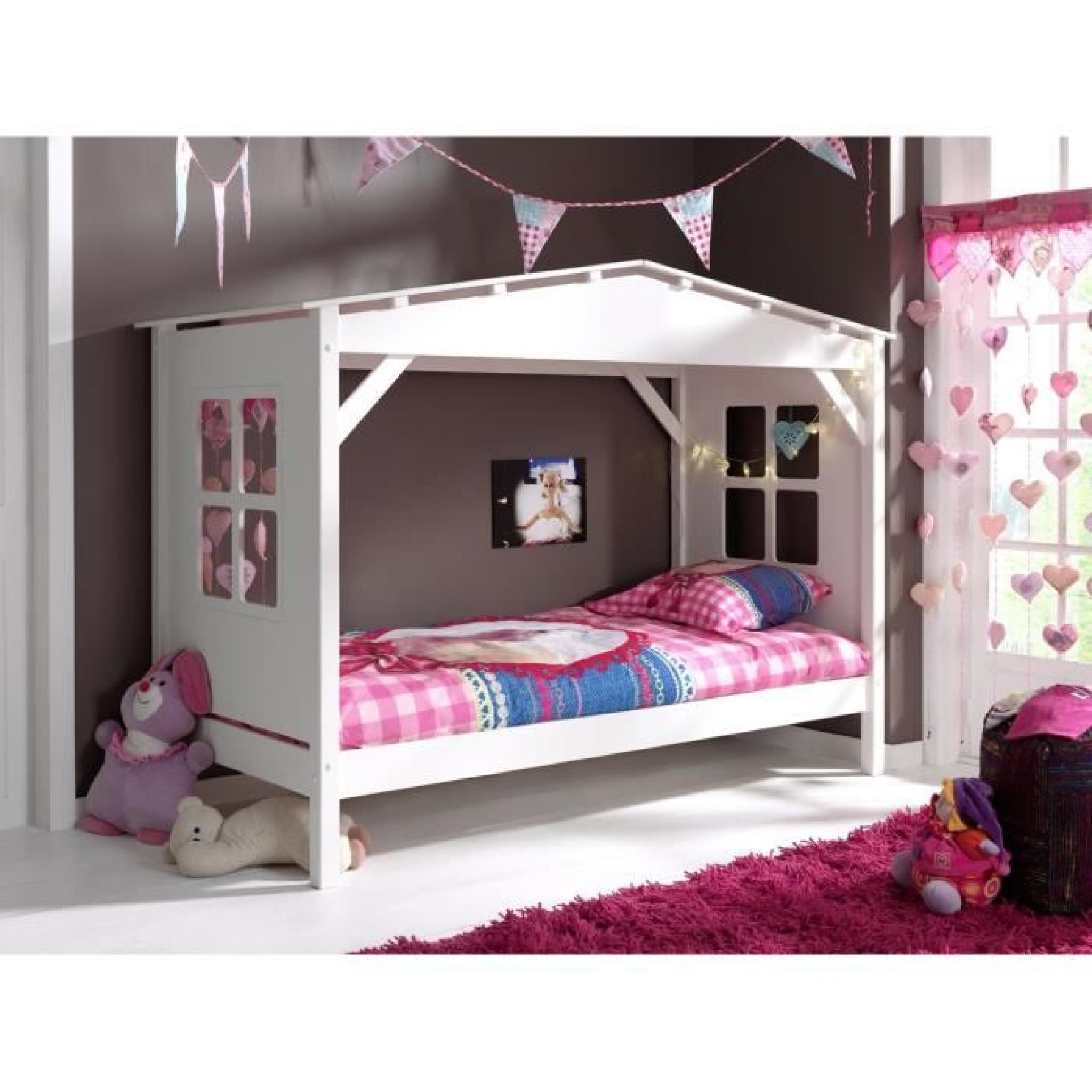 pino lit enfant cabane et lit gigogne 90x200 blanc. Black Bedroom Furniture Sets. Home Design Ideas