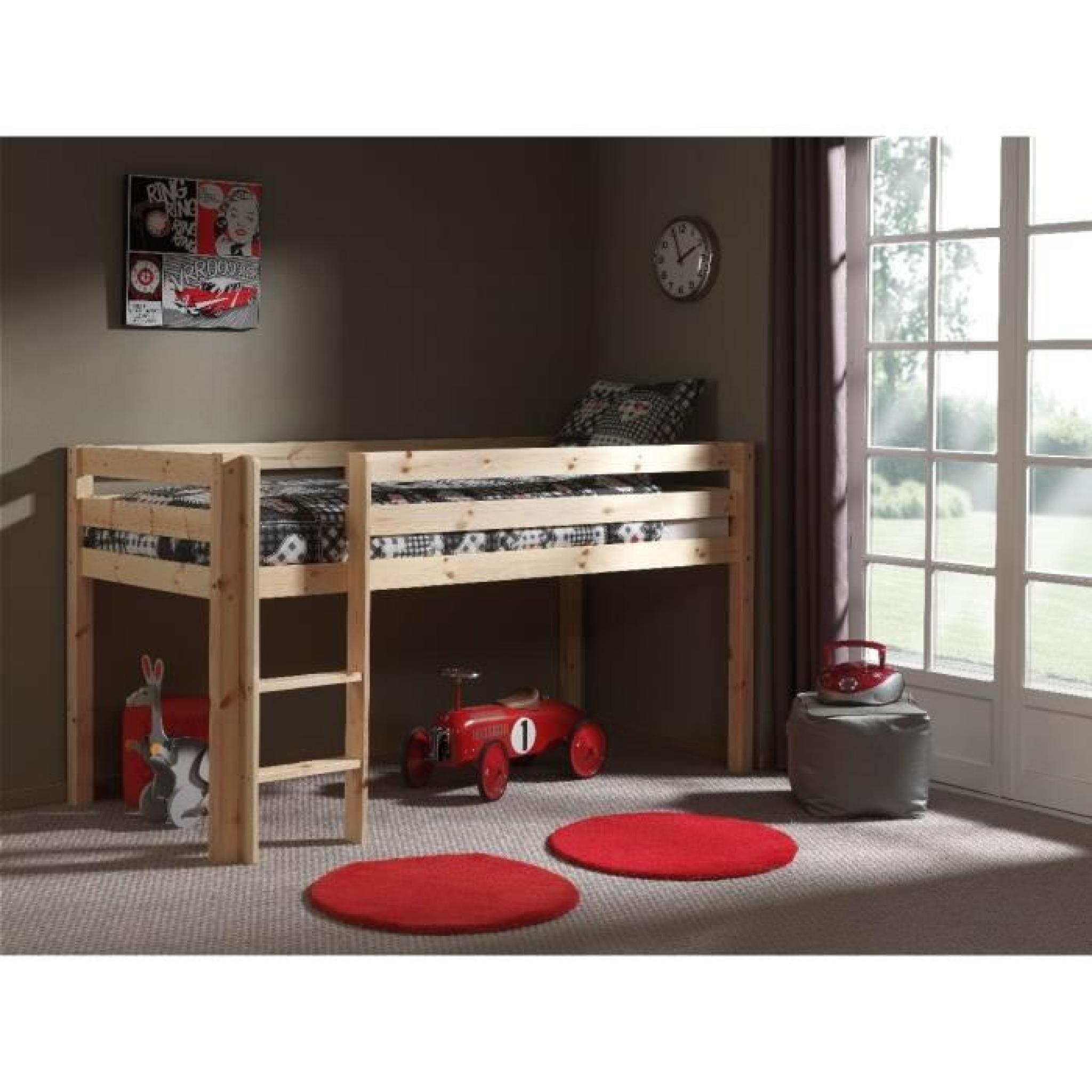 pino lit mezzanine enfant 90x200 housse hello kitty. Black Bedroom Furniture Sets. Home Design Ideas