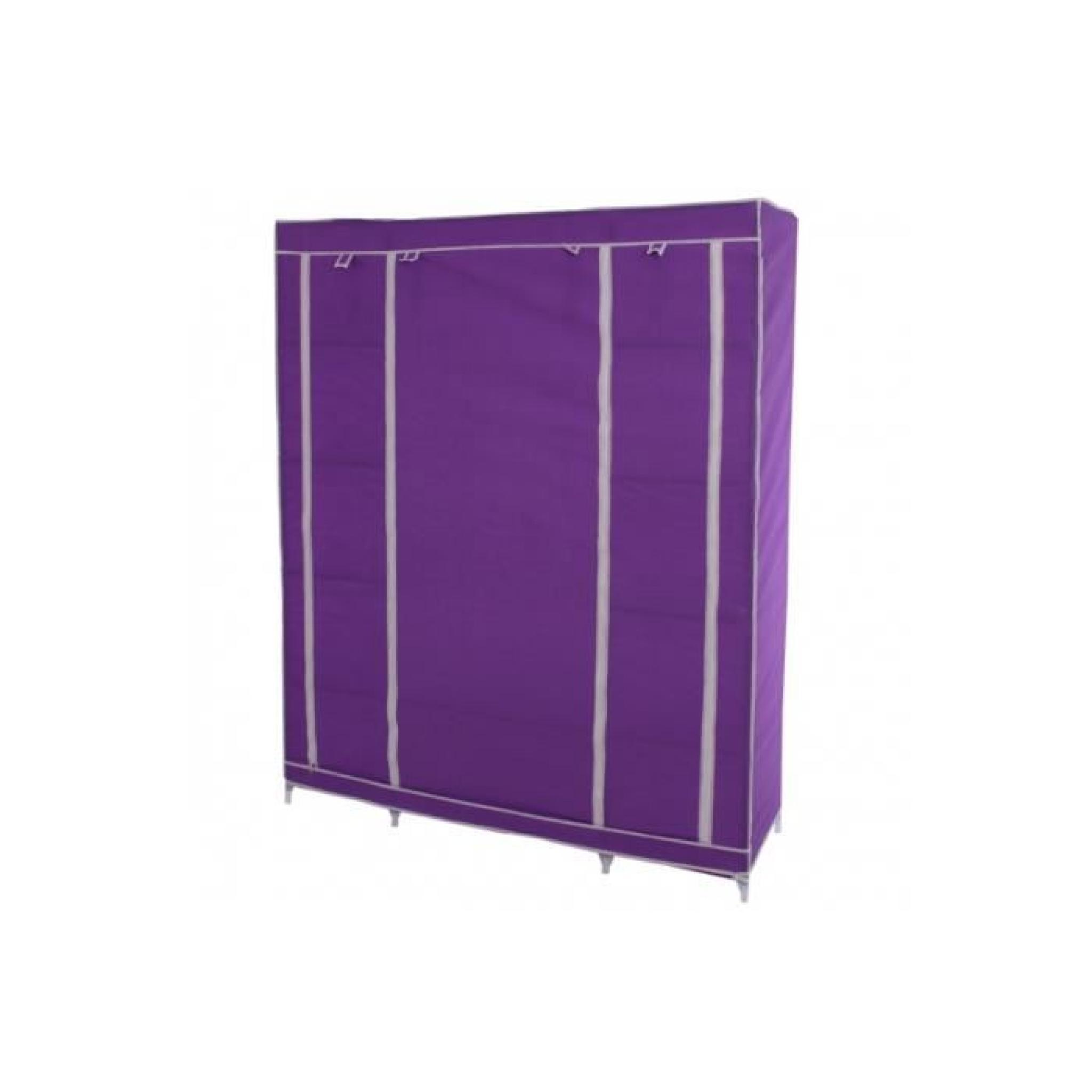 Placard pliant armoire Camping penderie 173x135x45cm ~ Violet