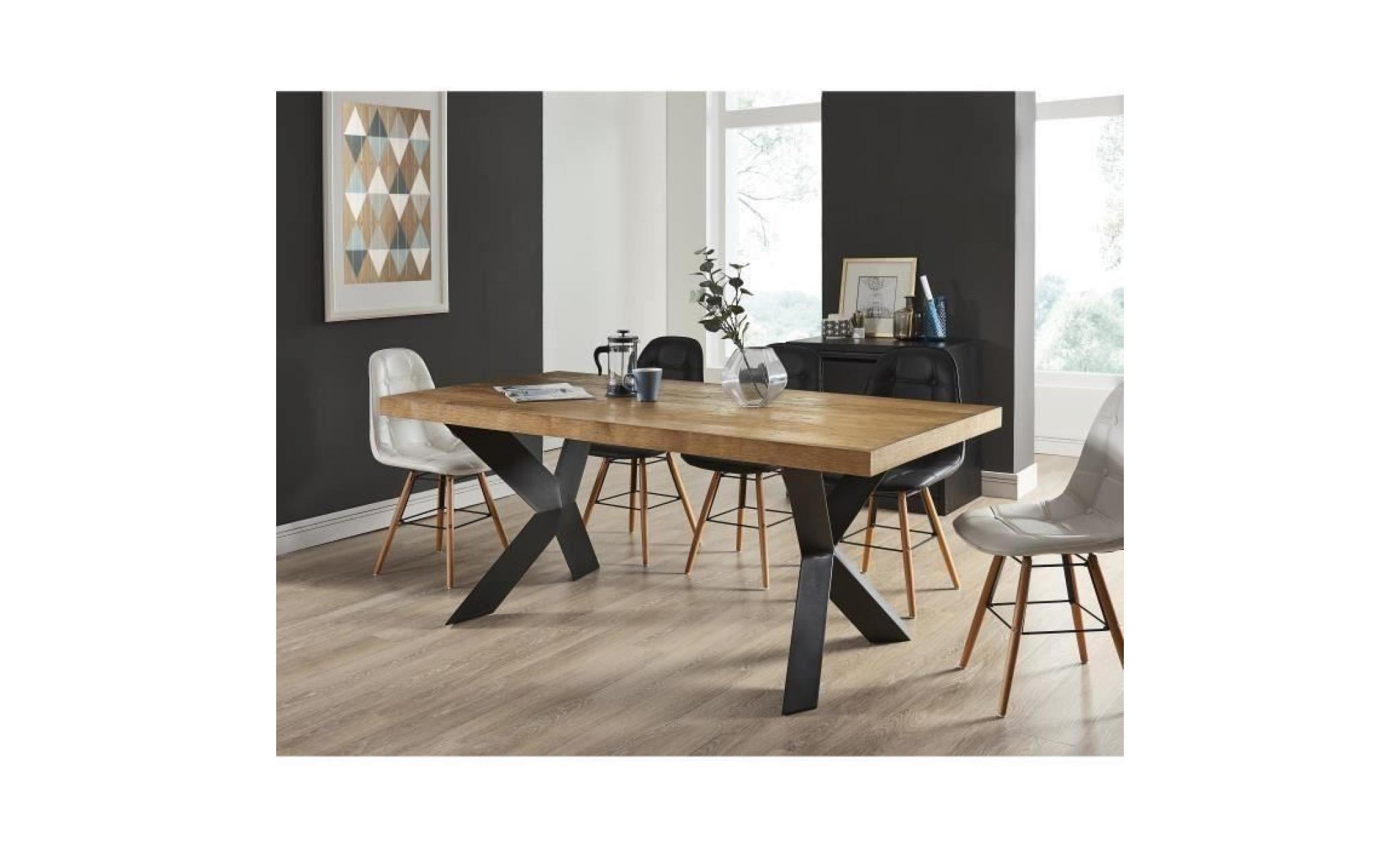 Table Salle A Manger Style Industriel.Platon Table A Manger De 6 A 8 Personnes Style Industriel Placage Bois Chene Pieds Metal Laque Noir L 180 X L 90 Cm