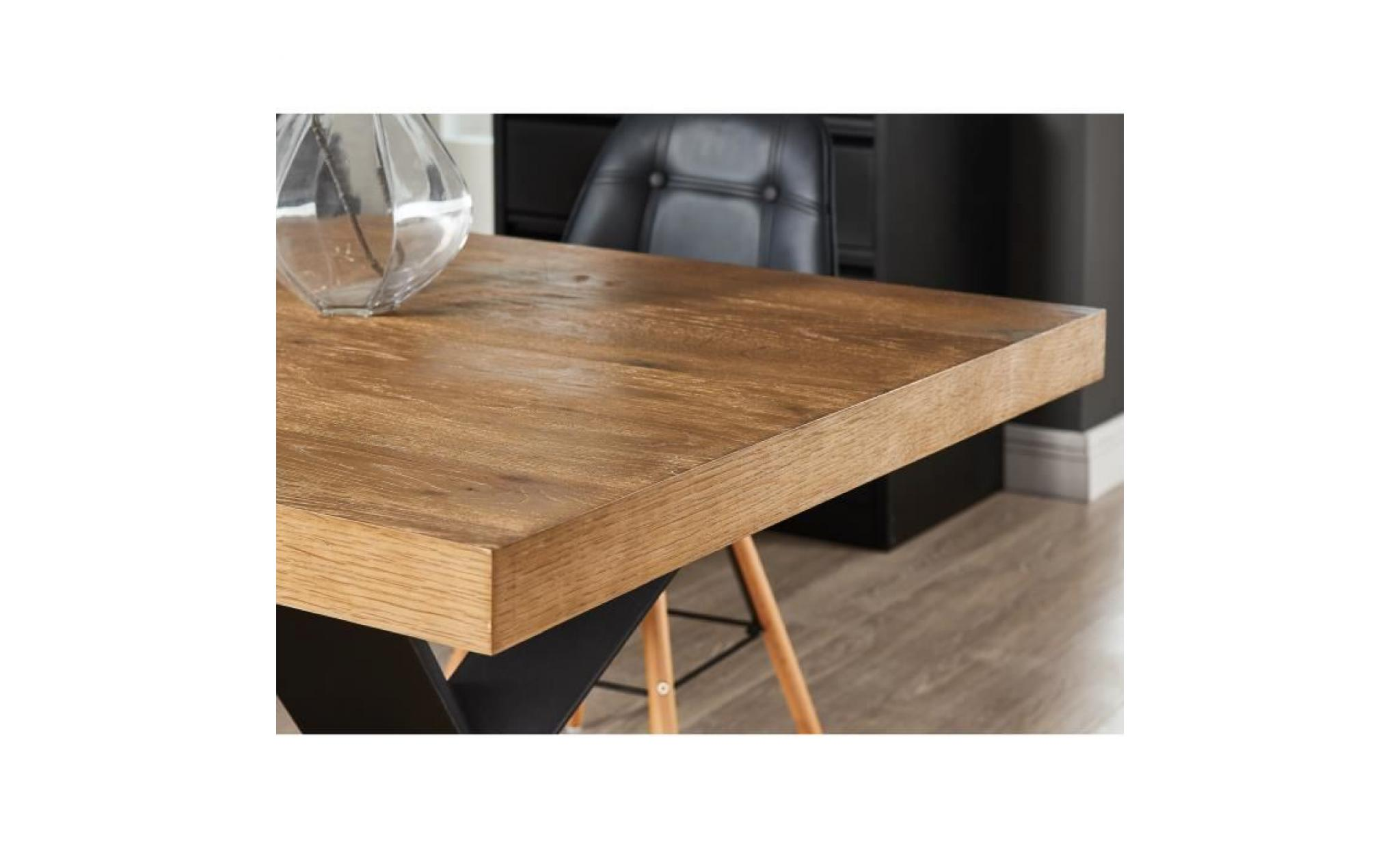 platon table à manger de 6 à 8 personnes style industriel placage bois  chêne + pieds métal laqué noir l 180 x l 90 cm