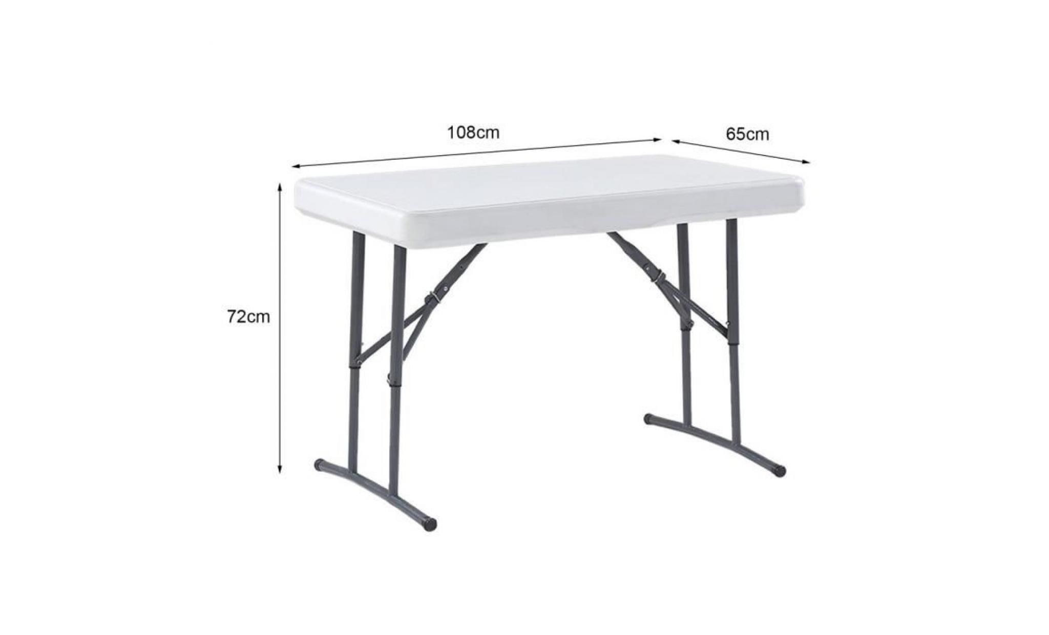 Pliable Table 2 Tabourets Kit De Table A Manger Pour 4 Personnes Pour Voyage Camping Taille Du Bureau 108 65 72cm Taille De