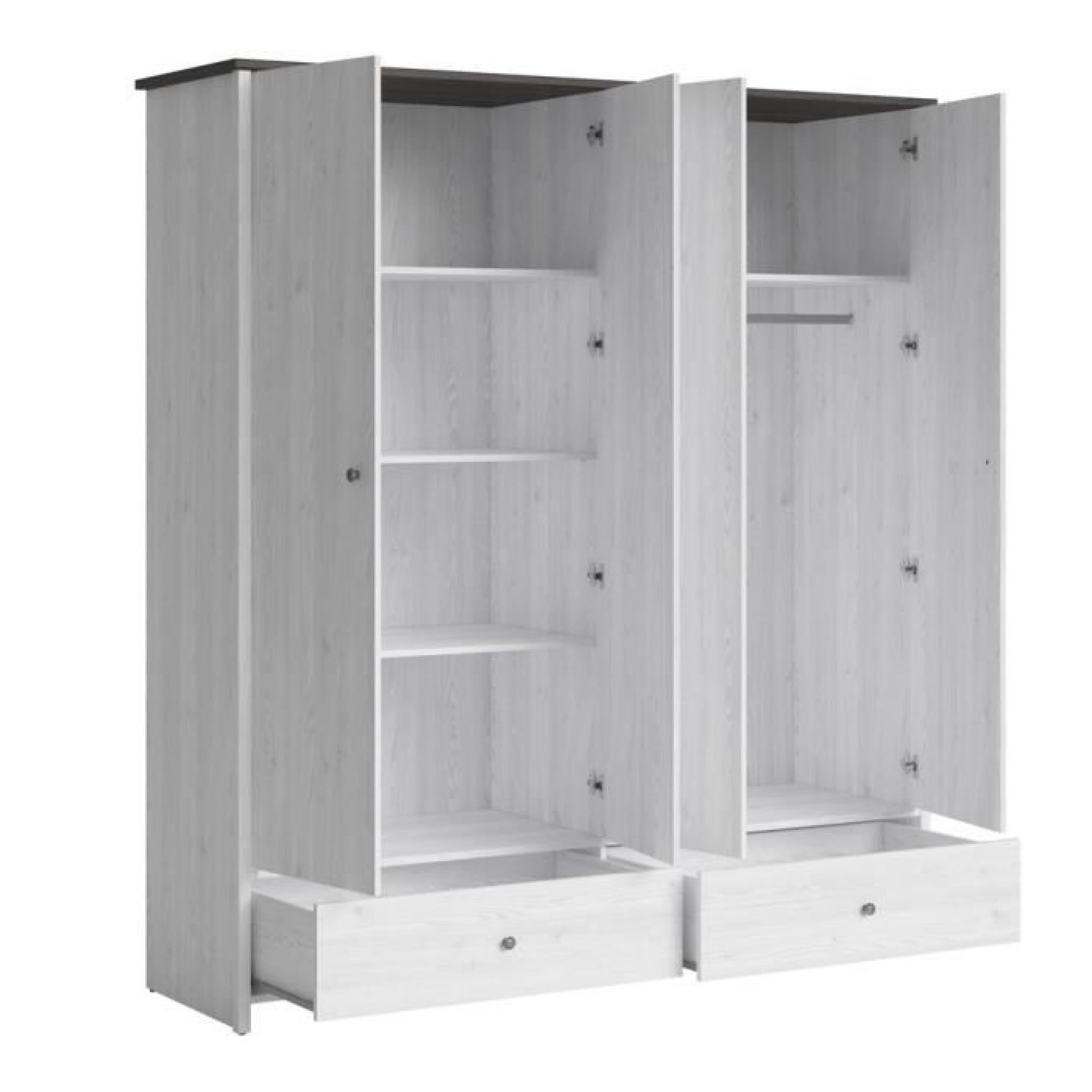 porto amoire 189 cm blanc et noir achat vente armoire de. Black Bedroom Furniture Sets. Home Design Ideas