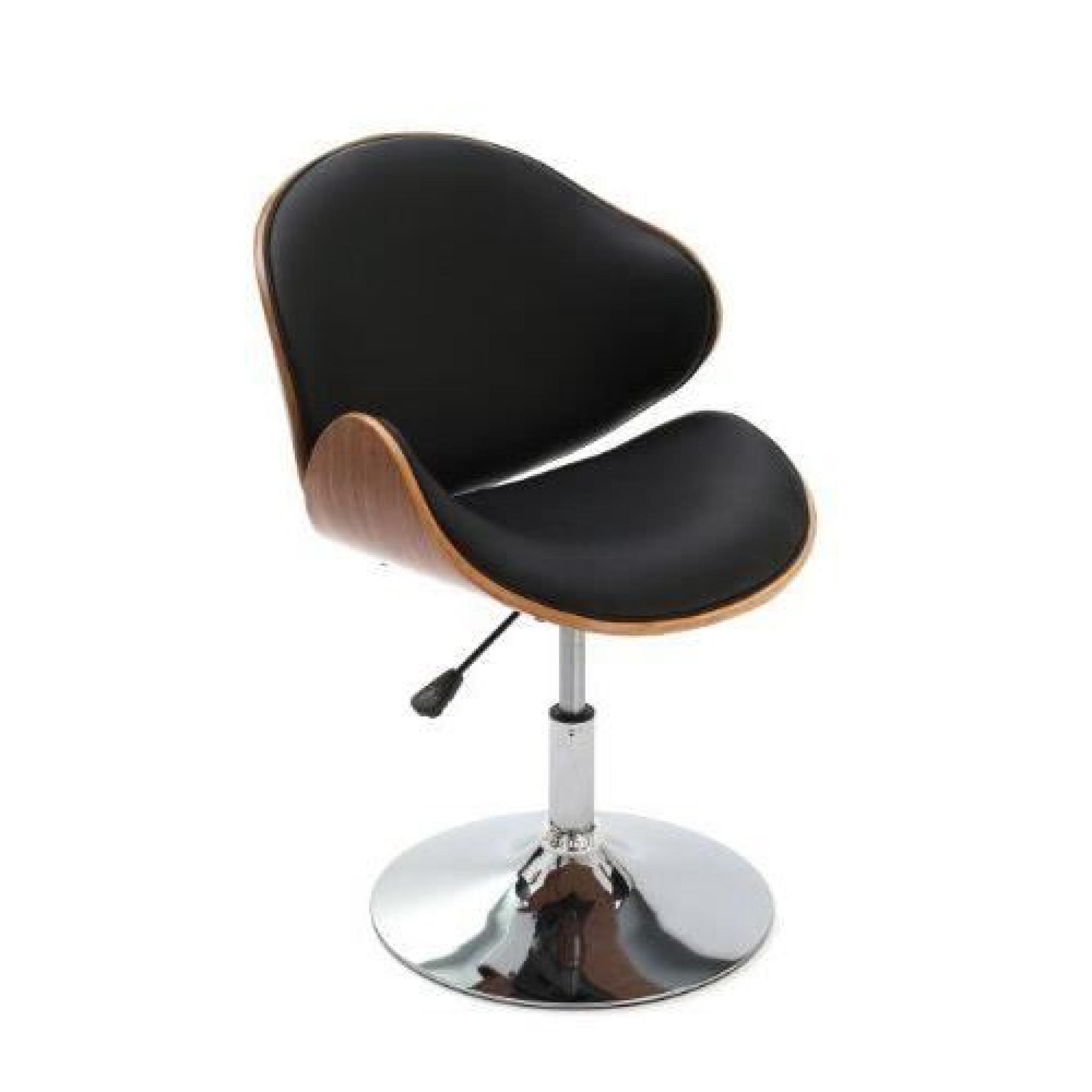 Premier housewares 2403156 chaise en placage de noyer effet cuir noir 52 x 55 - Chaise en cuir pas cher ...