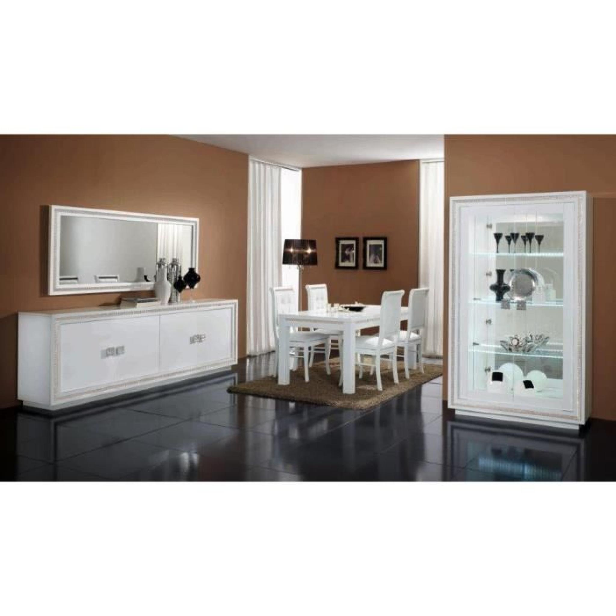 prestige laque blanche ensemble salle a manger vitrine 2 portes bahut 4 portes miroir 190. Black Bedroom Furniture Sets. Home Design Ideas