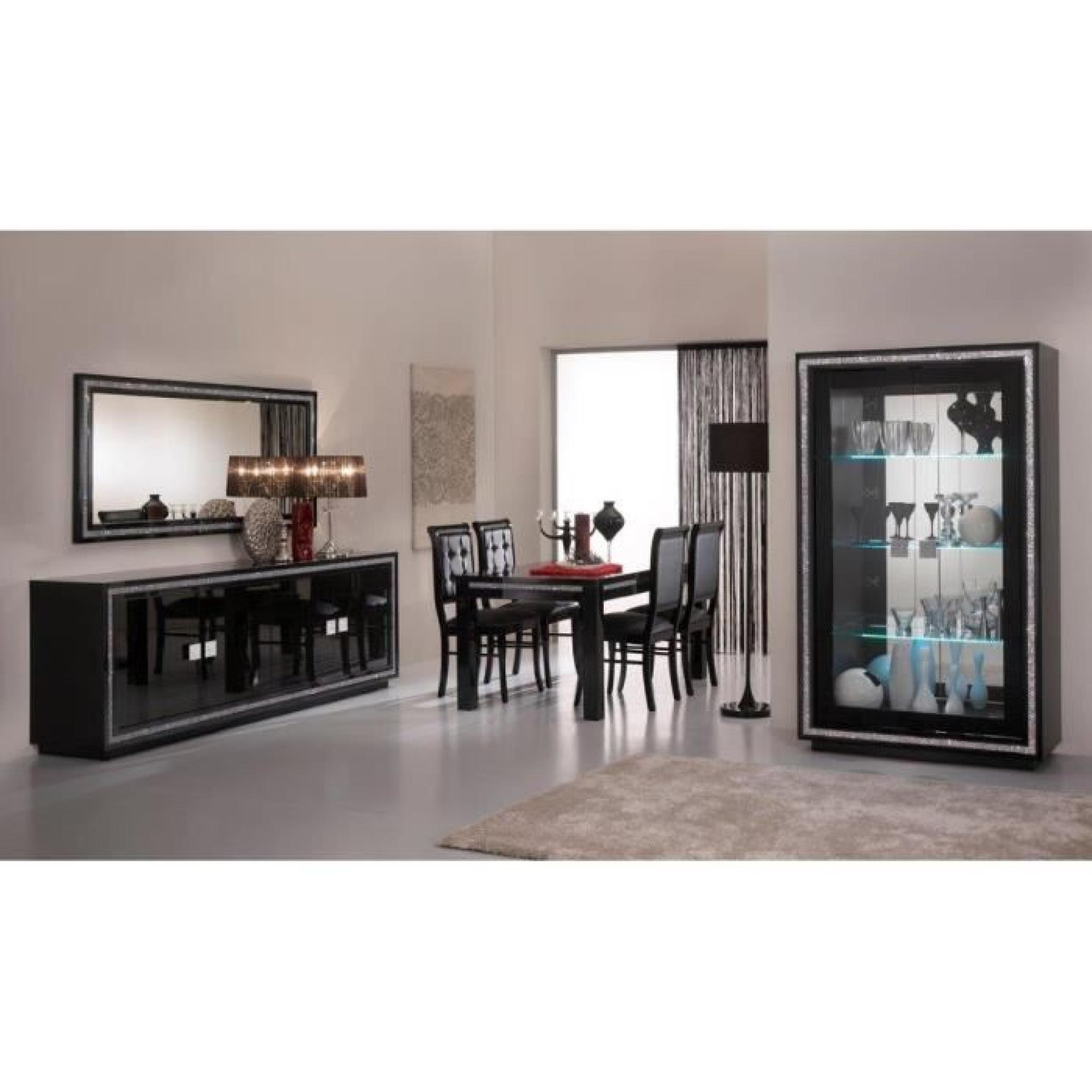 prestige laquee noire ensemble salle a manger vitrine 2 portes meuble tv table salon. Black Bedroom Furniture Sets. Home Design Ideas