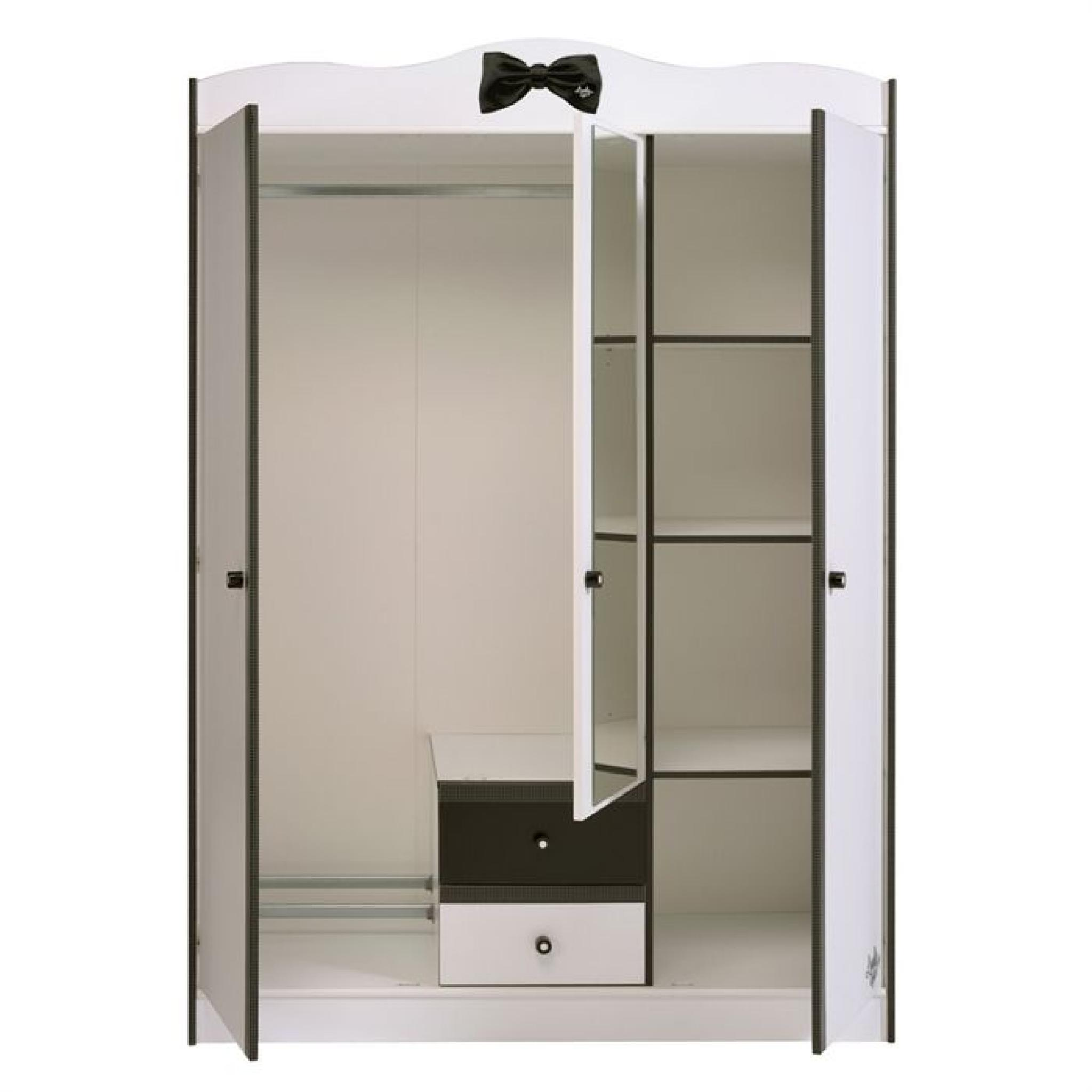 pretty armoire 3 portes blanc noir achat vente armoire. Black Bedroom Furniture Sets. Home Design Ideas